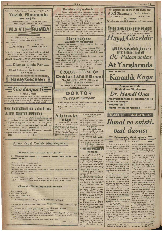 9 Ağustos 1942 Tarihli Bugün Gazetesi Sayfa 2