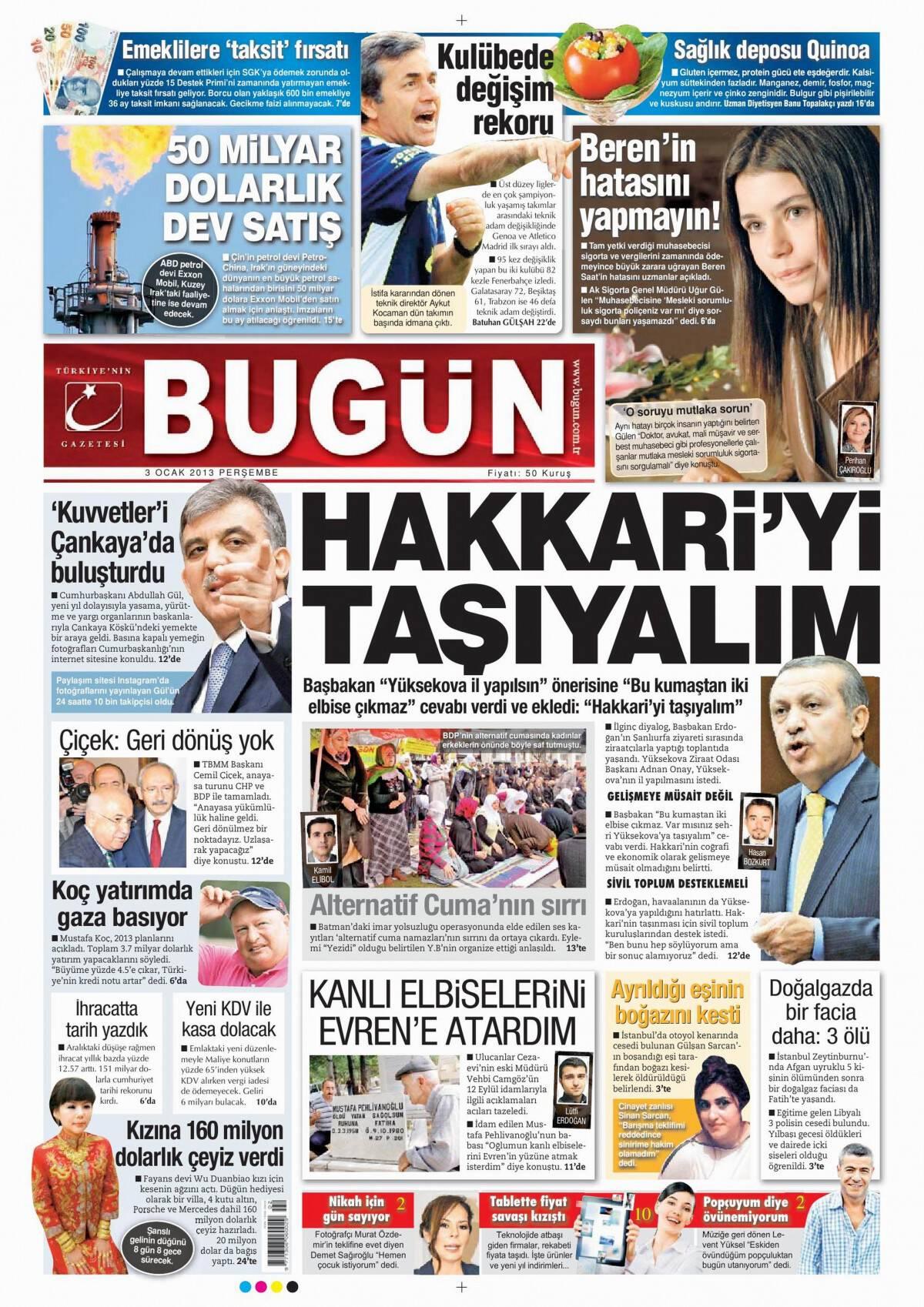 3 Ocak 2013 tarihli Bugun Gazetesi Sayfa 1