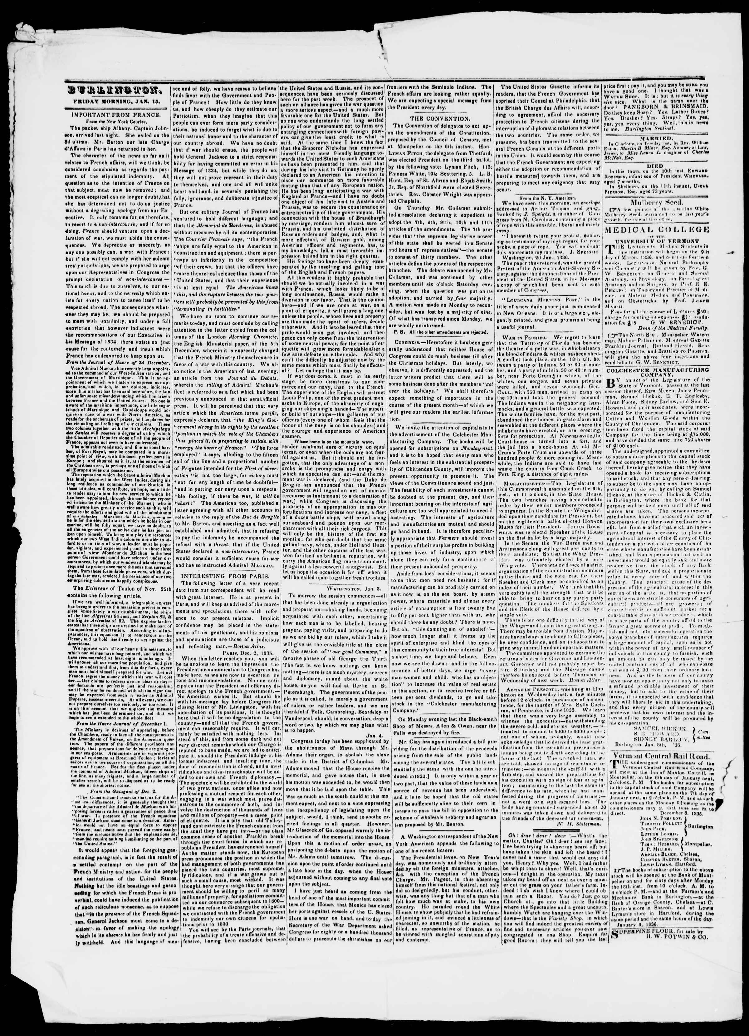 Newspaper of Burlington Free Press dated January 15, 1836 Page 2