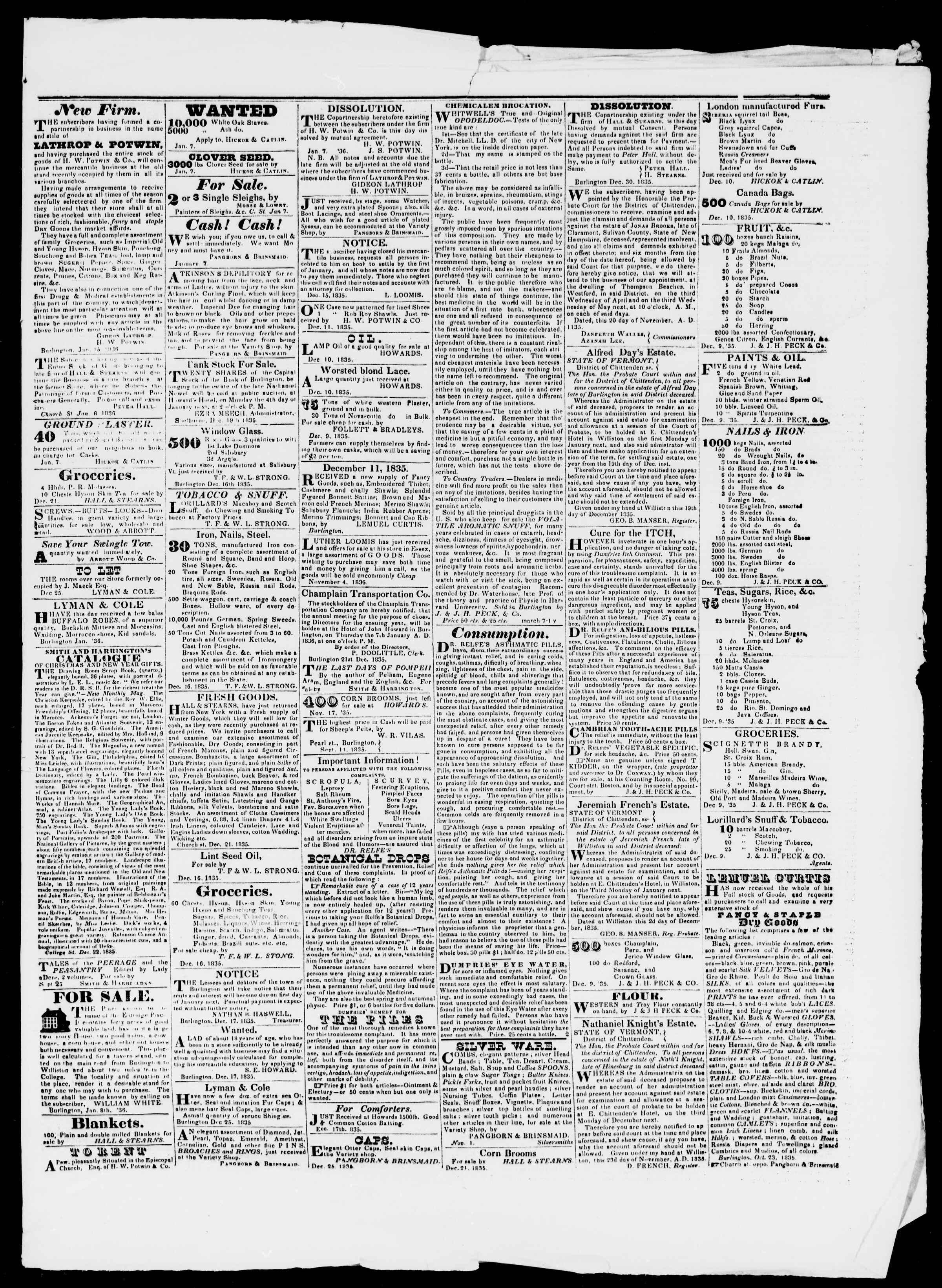Newspaper of Burlington Free Press dated January 15, 1836 Page 3