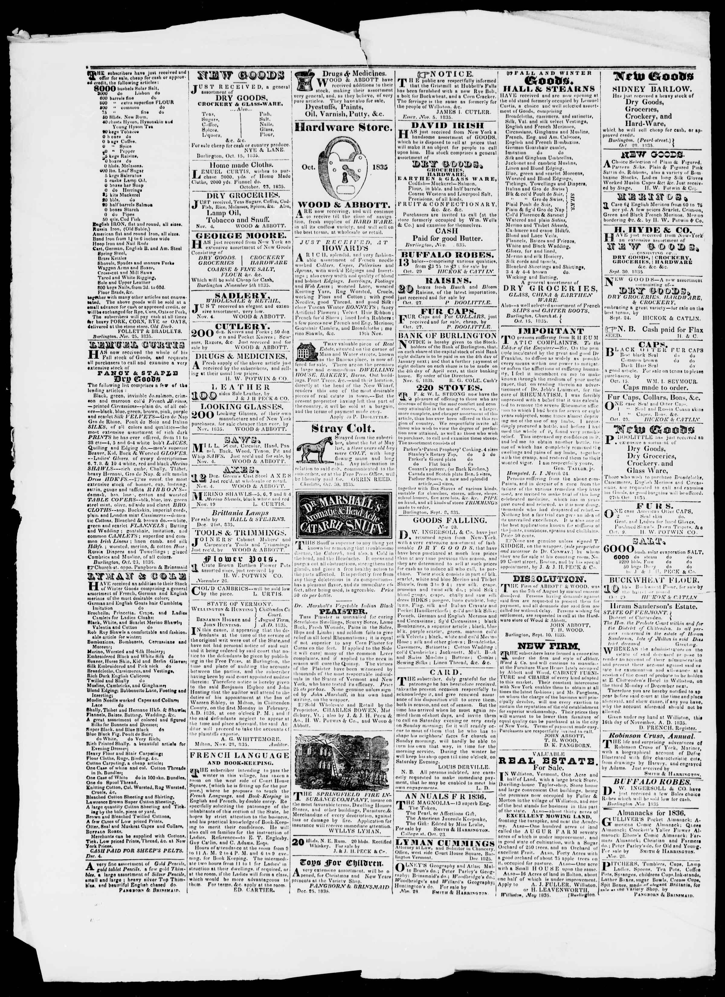 Newspaper of Burlington Free Press dated January 15, 1836 Page 4