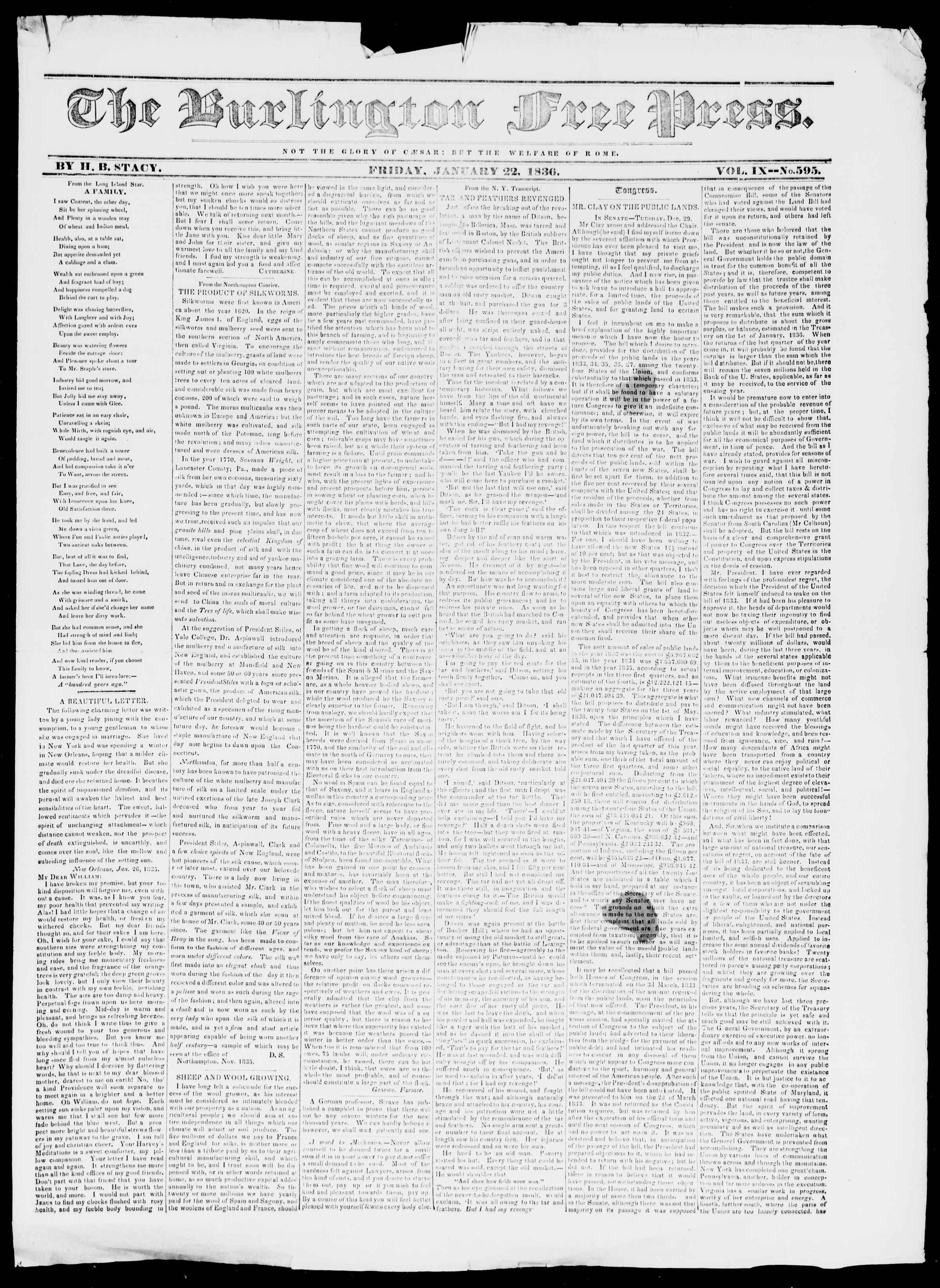 Newspaper of Burlington Free Press dated January 22, 1836 Page 1