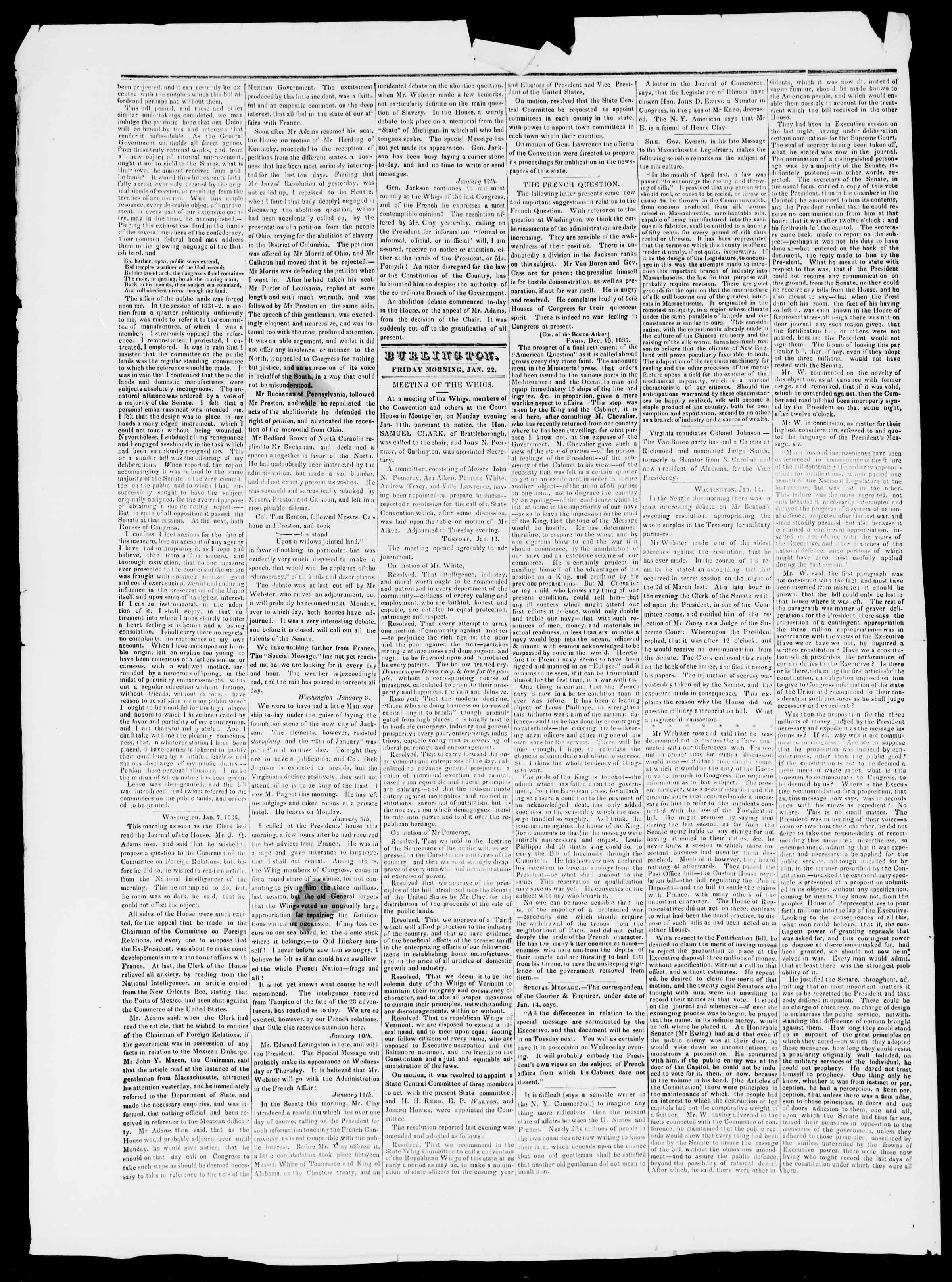 Newspaper of Burlington Free Press dated January 22, 1836 Page 2