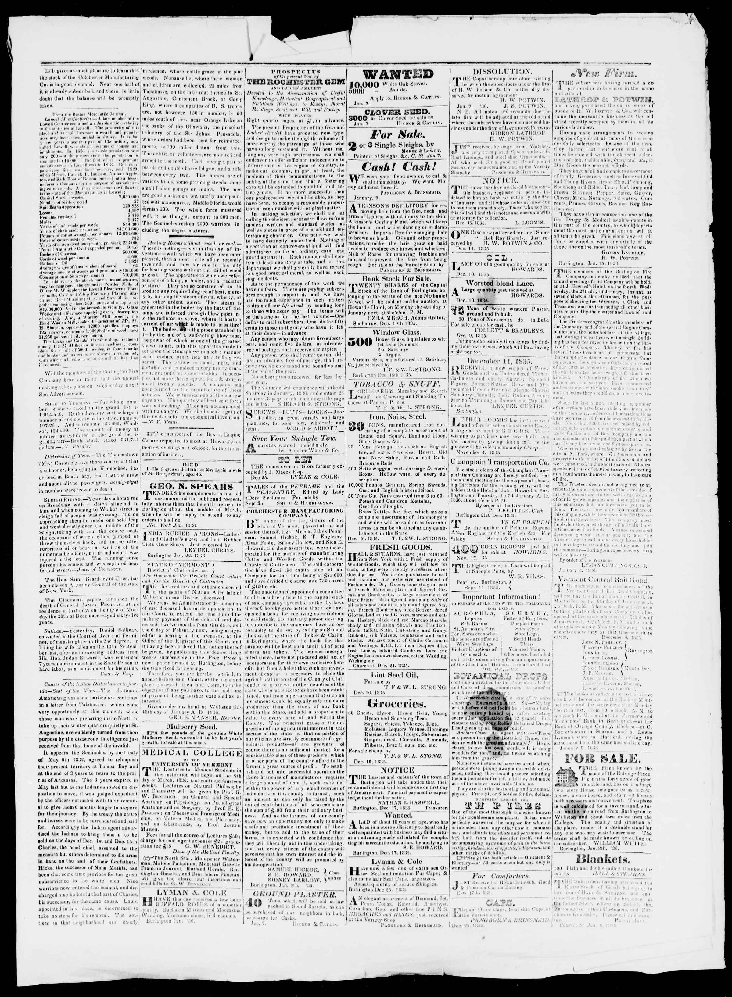 Newspaper of Burlington Free Press dated January 22, 1836 Page 3
