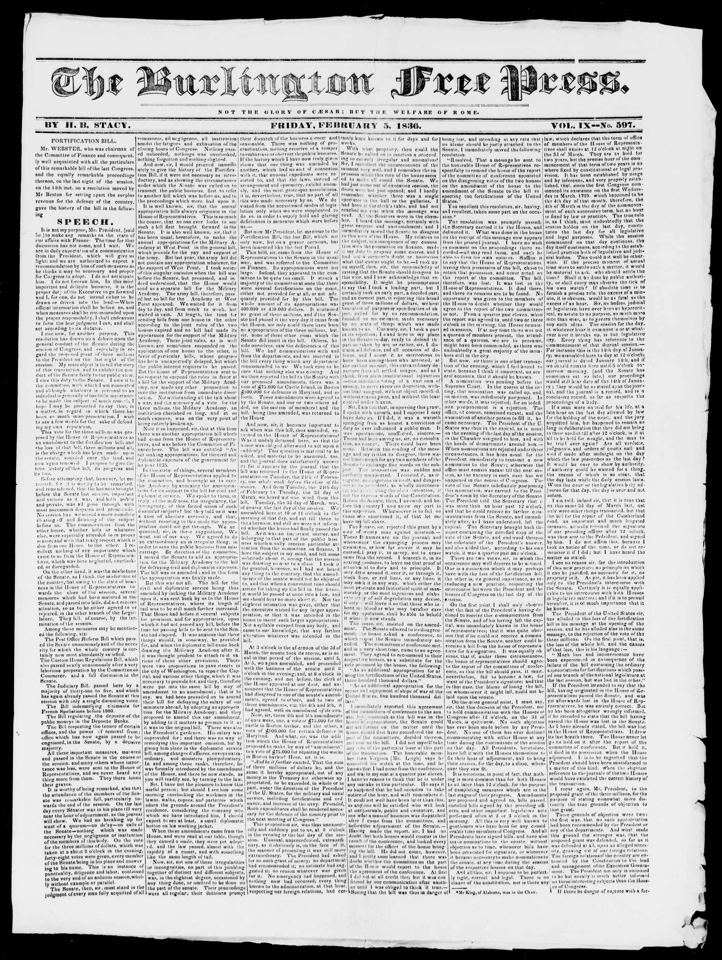 Newspaper of Burlington Free Press dated February 5, 1836 Page 1