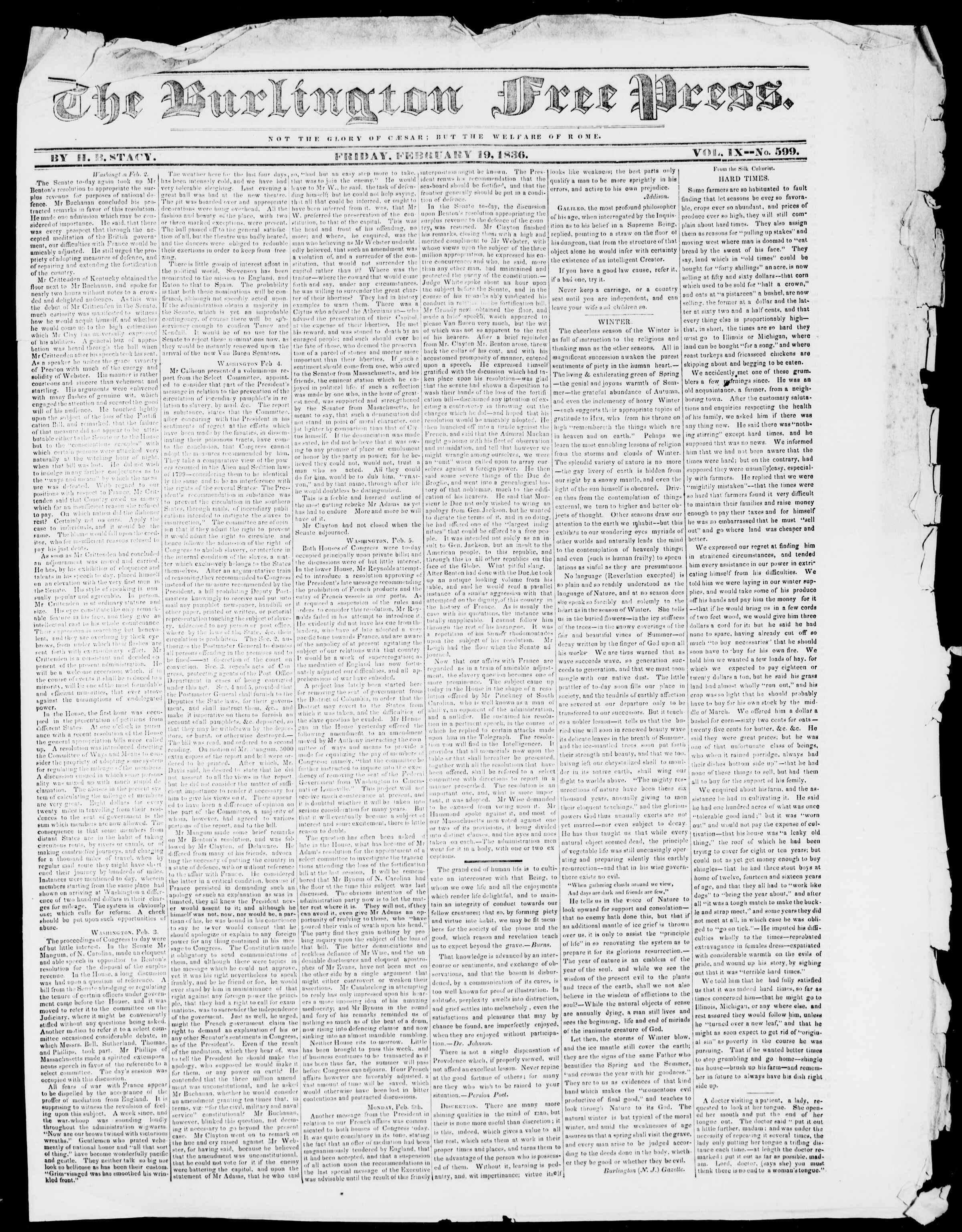 Newspaper of Burlington Free Press dated February 19, 1836 Page 1