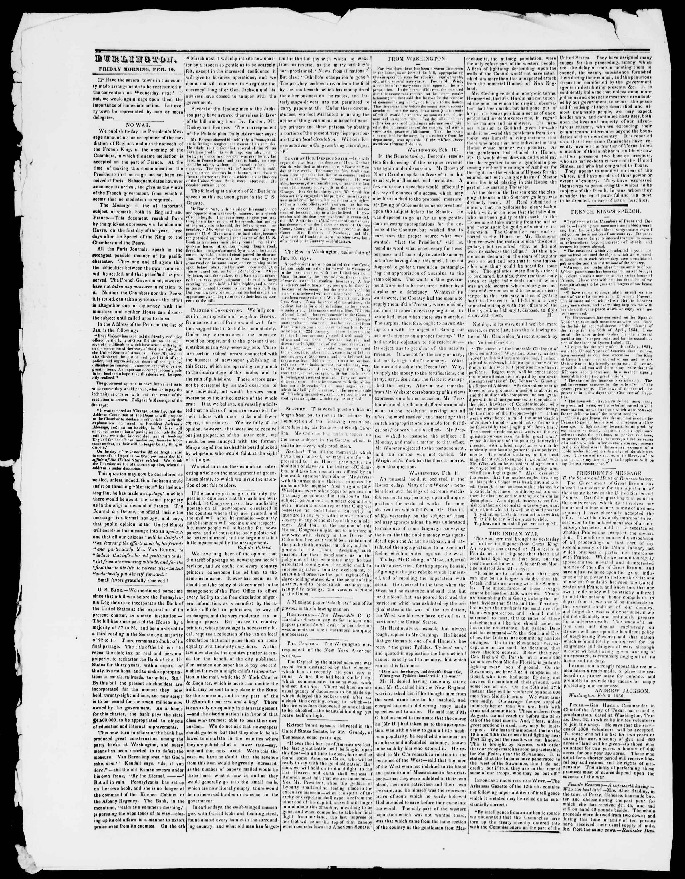 Newspaper of Burlington Free Press dated February 19, 1836 Page 2