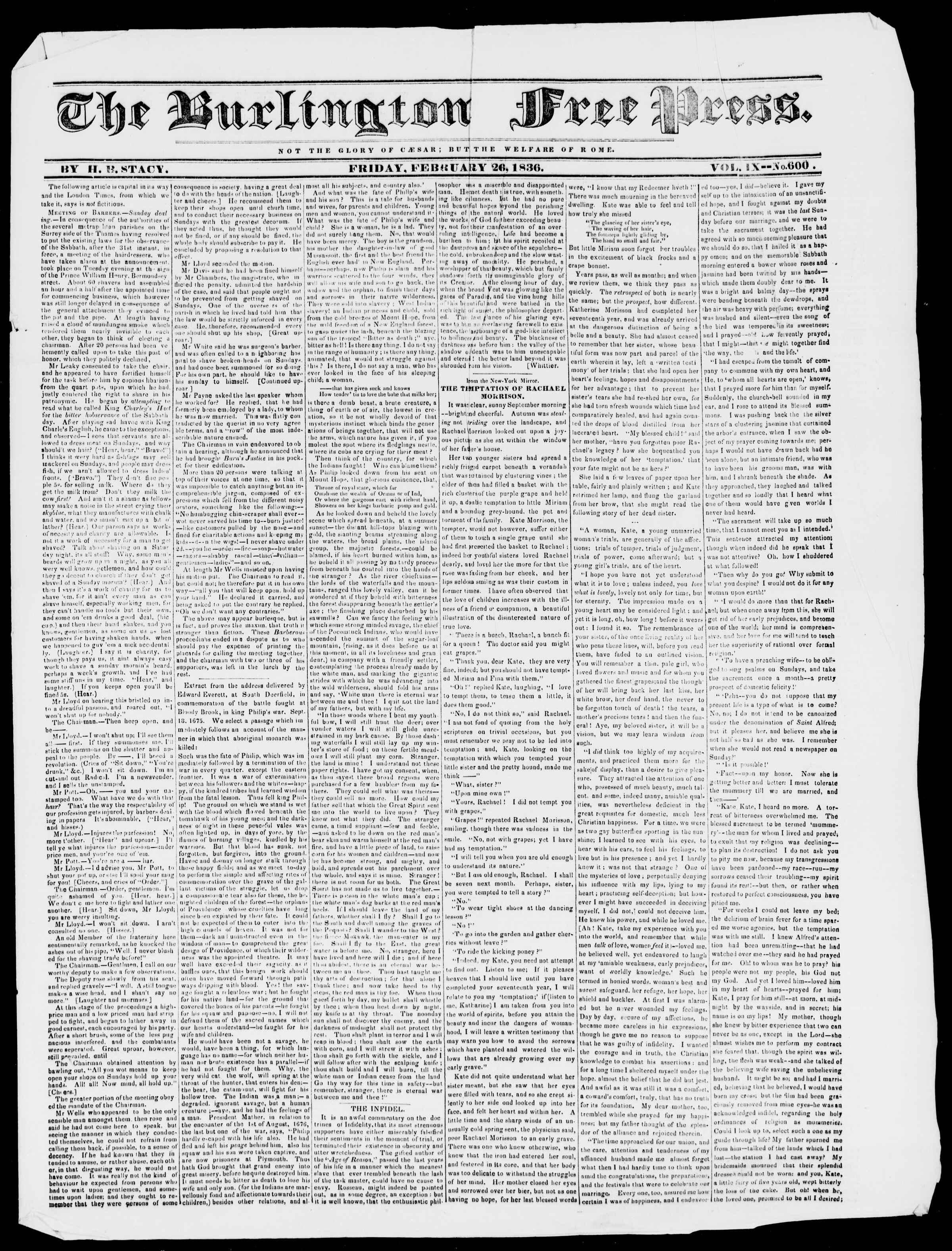 Newspaper of Burlington Free Press dated February 26, 1836 Page 1