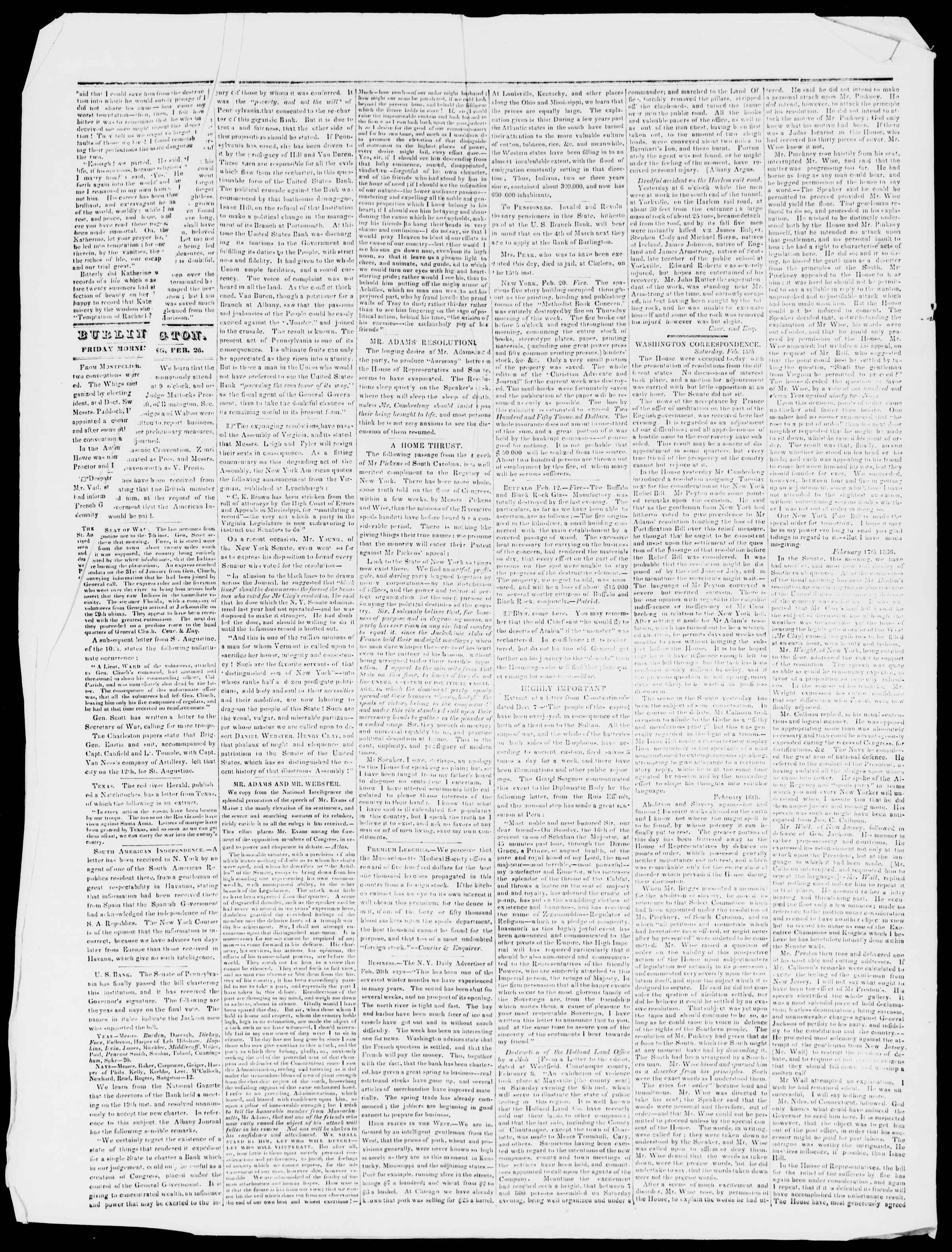 Newspaper of Burlington Free Press dated February 26, 1836 Page 2