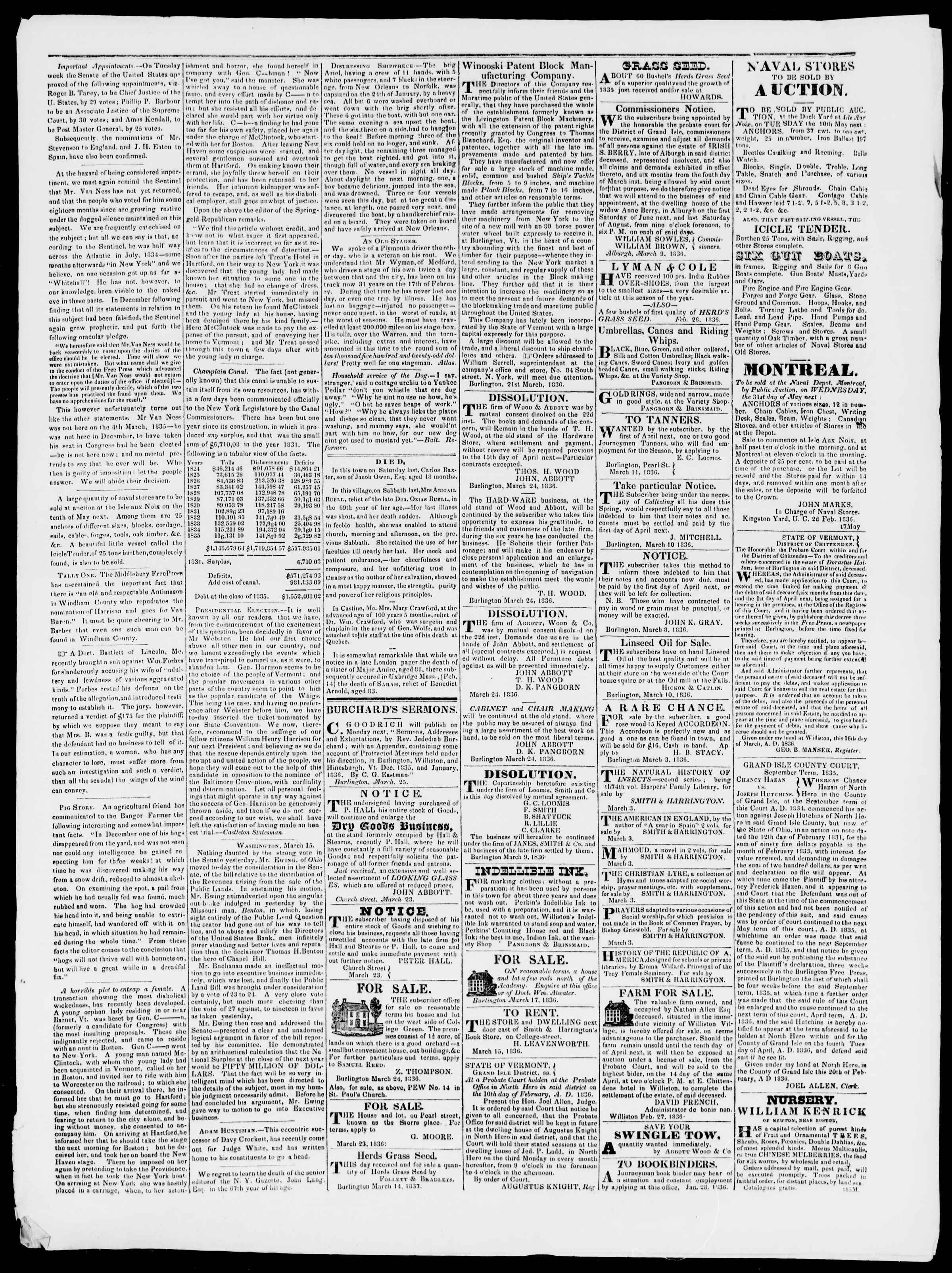 Newspaper of Burlington Free Press dated March 25, 1836 Page 3