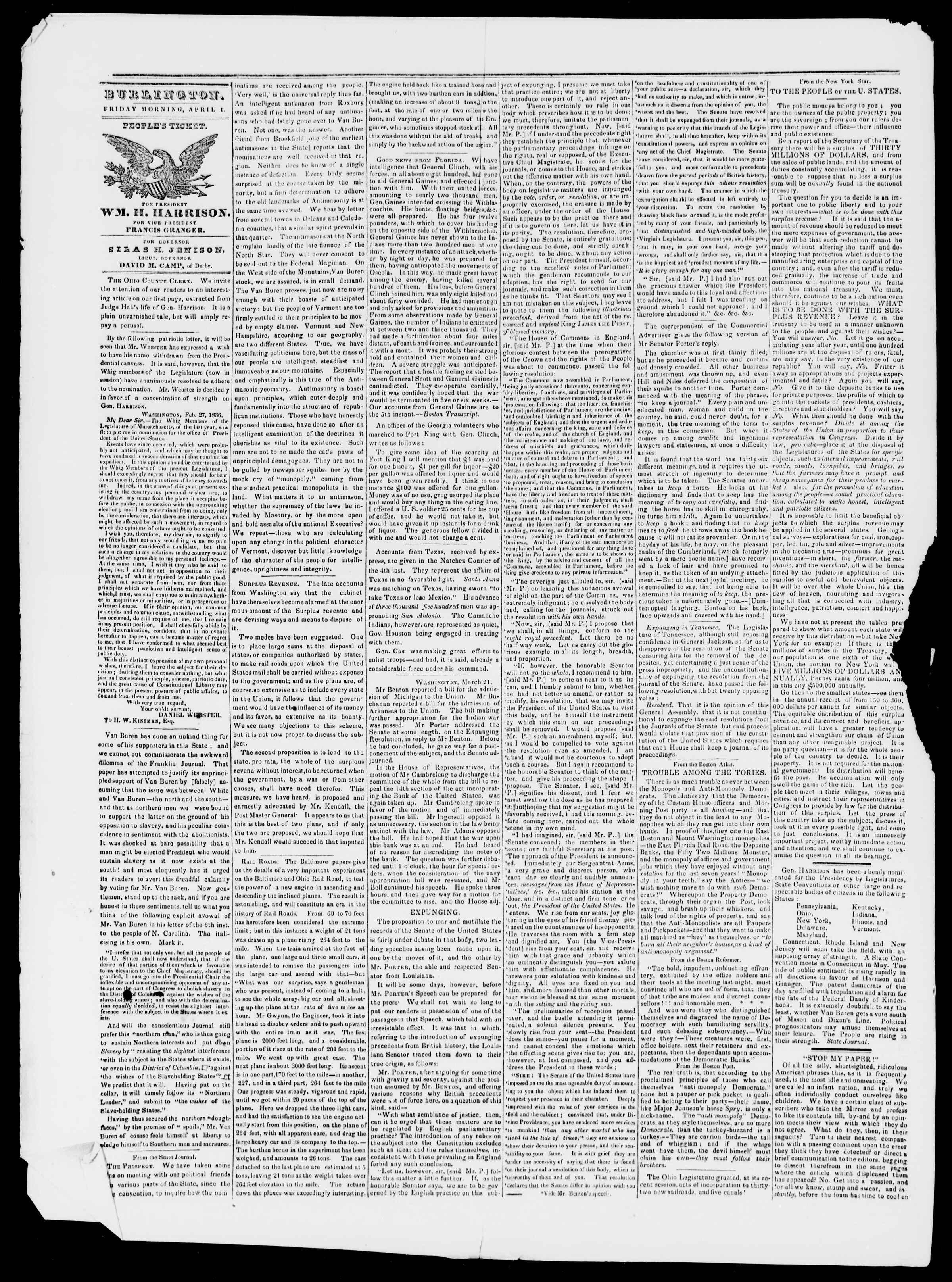Newspaper of Burlington Free Press dated April 1, 1836 Page 2