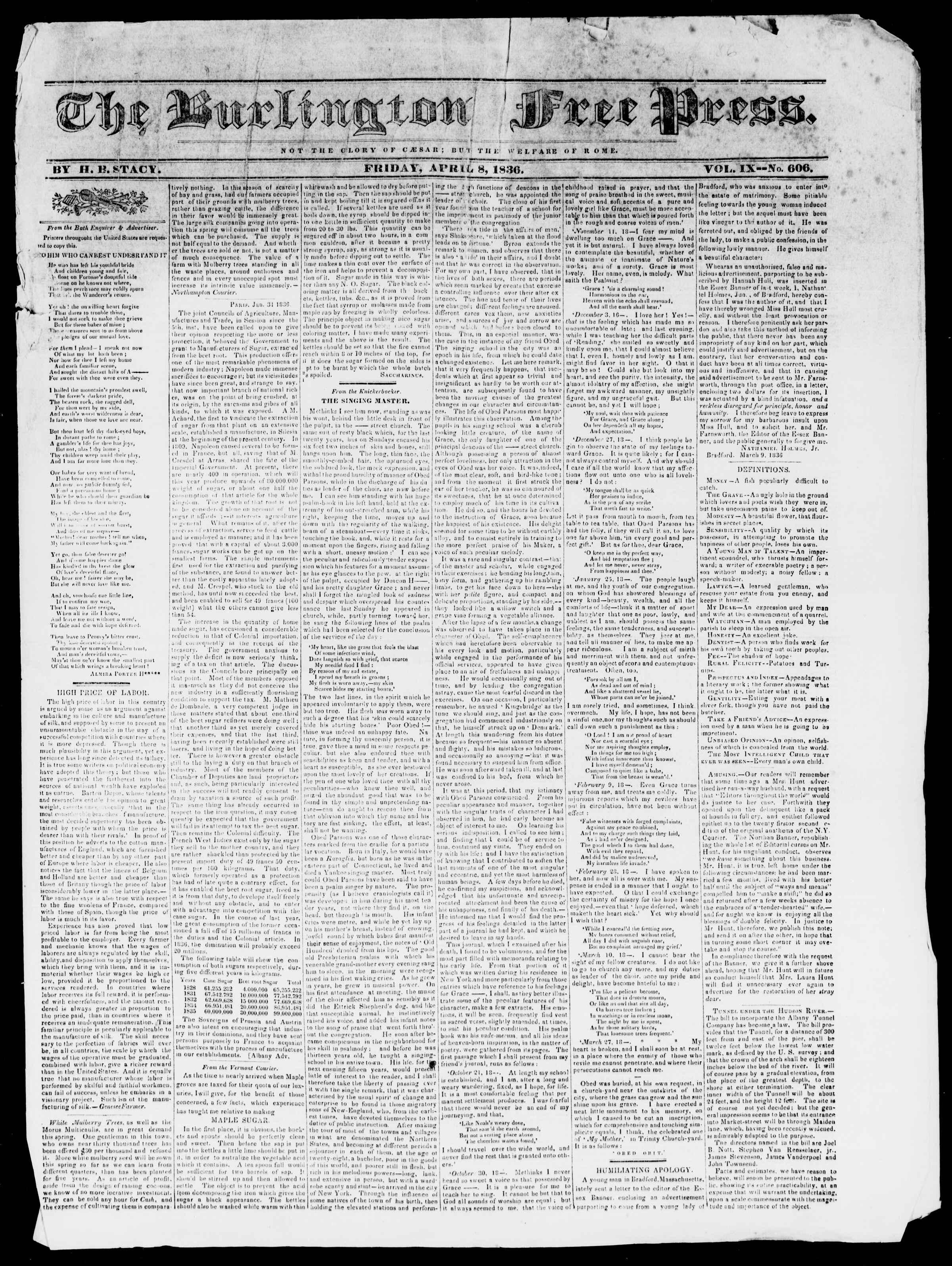 8 Nisan 1836 tarihli Burlington Free Press Gazetesi Sayfa 1