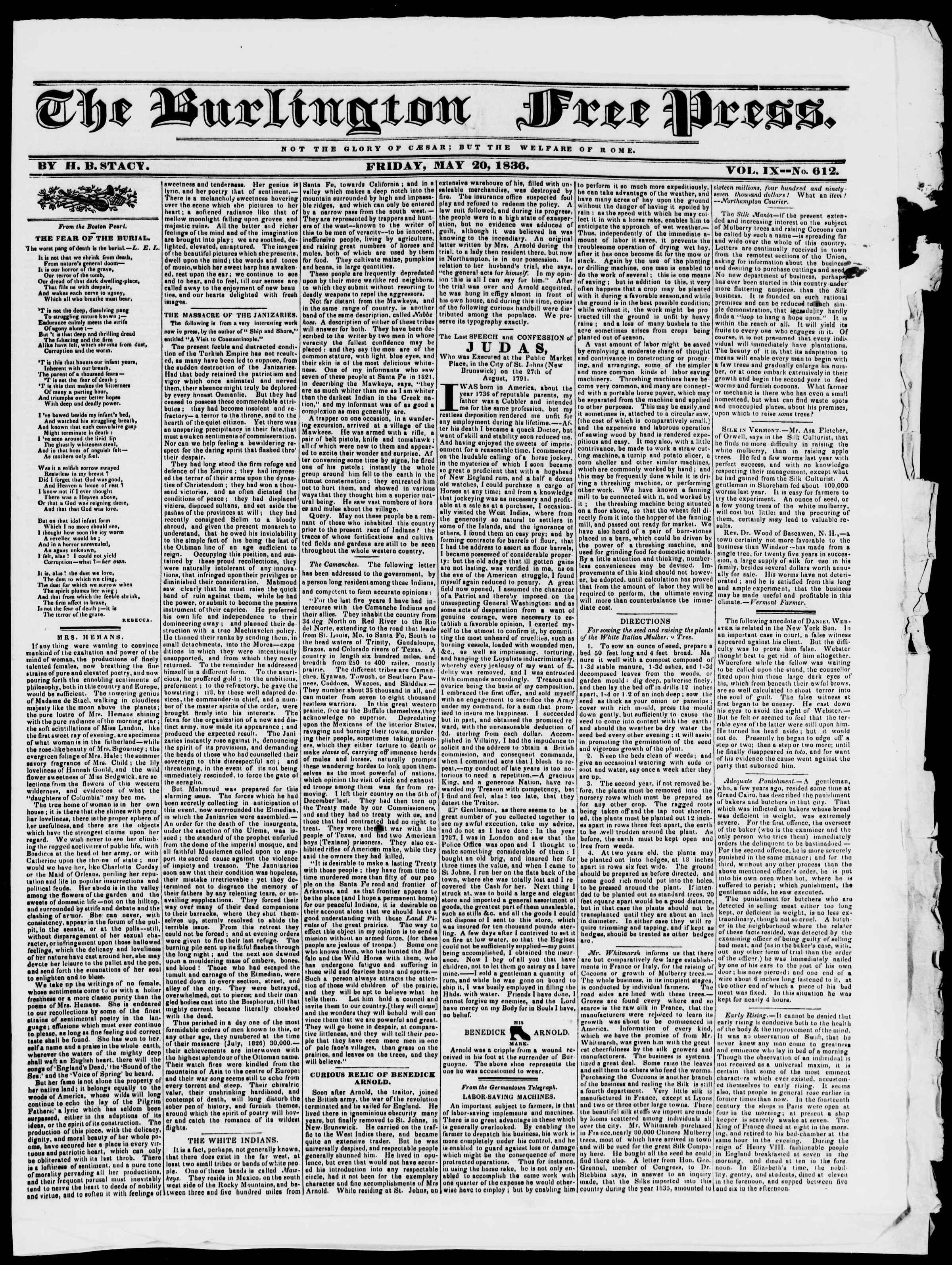 20 Mayıs 1836 tarihli Burlington Free Press Gazetesi Sayfa 1