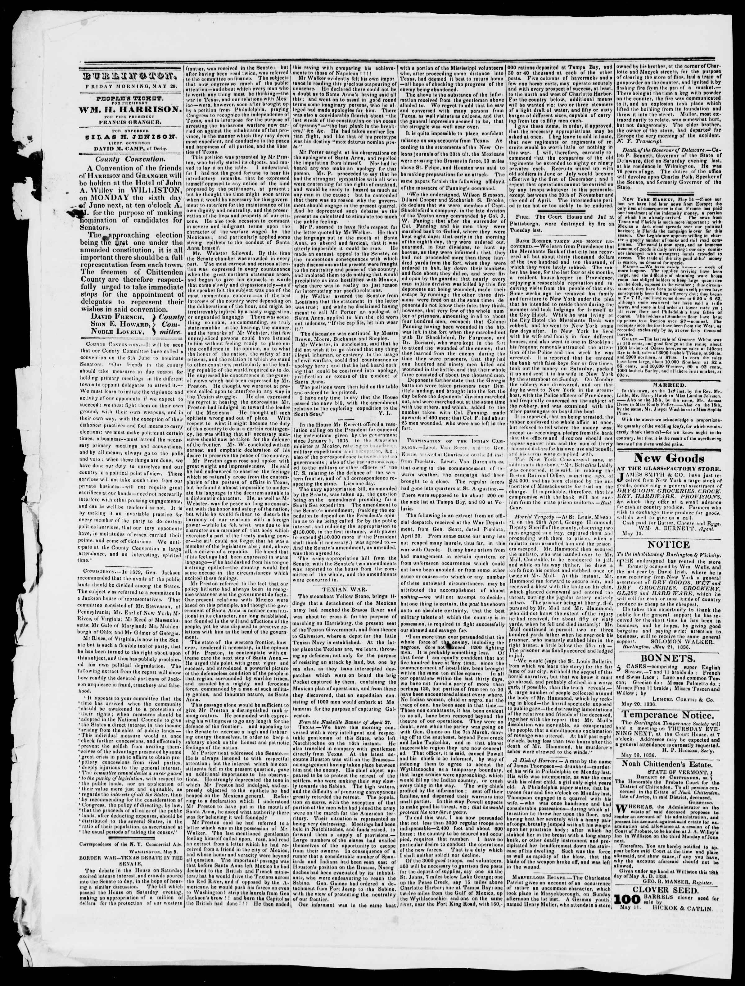 Newspaper of Burlington Free Press dated May 20, 1836 Page 2