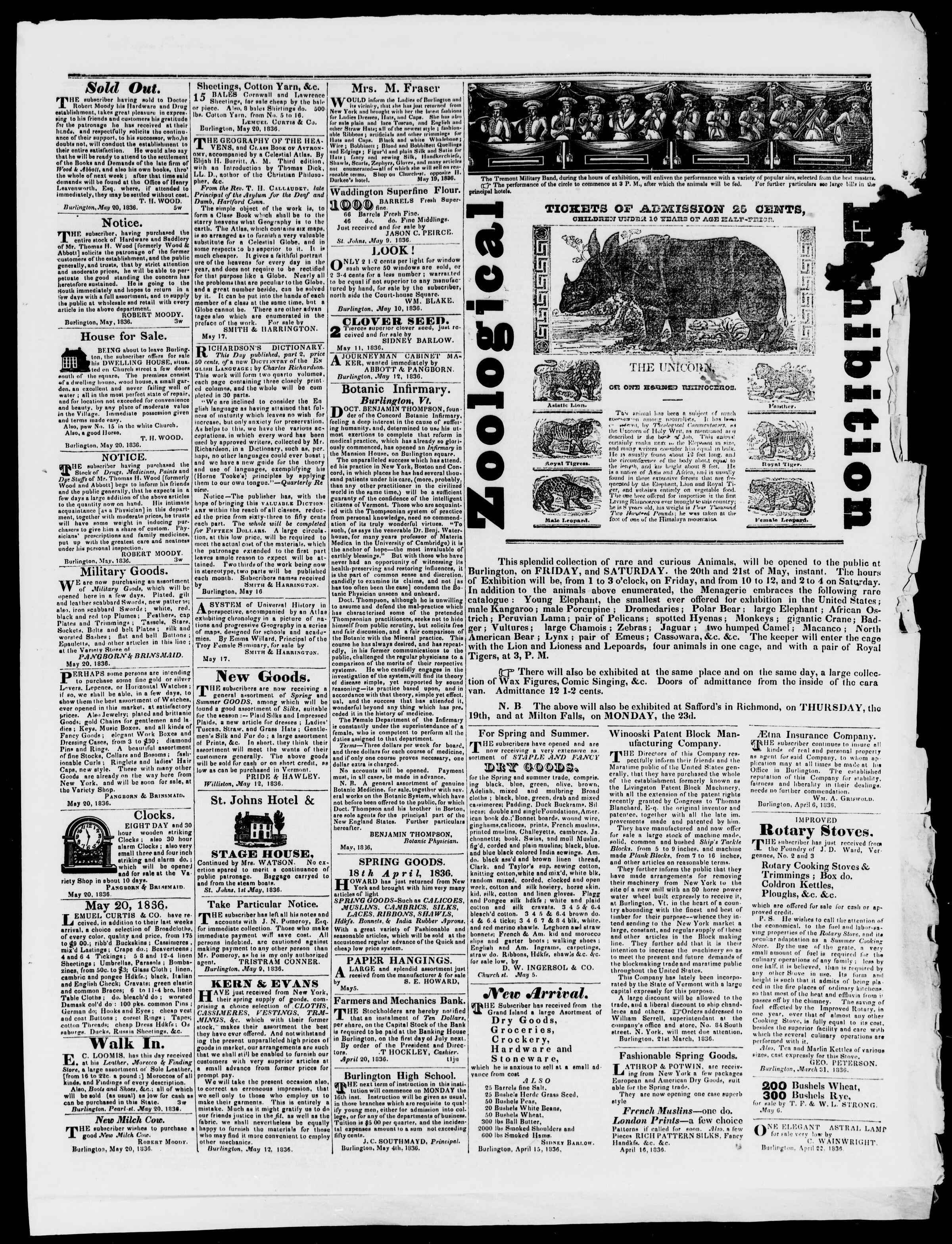 Newspaper of Burlington Free Press dated May 20, 1836 Page 3