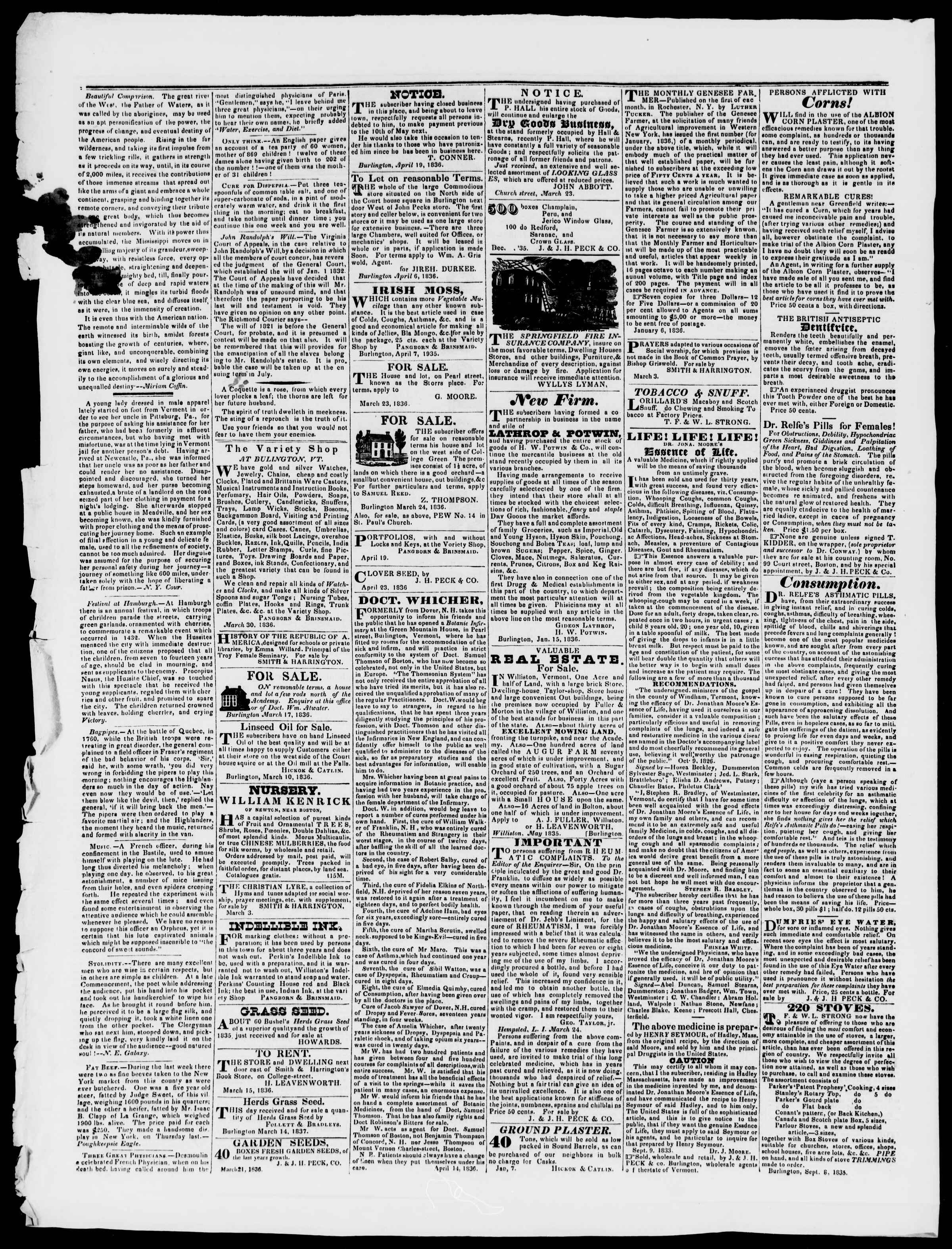 Newspaper of Burlington Free Press dated May 20, 1836 Page 4