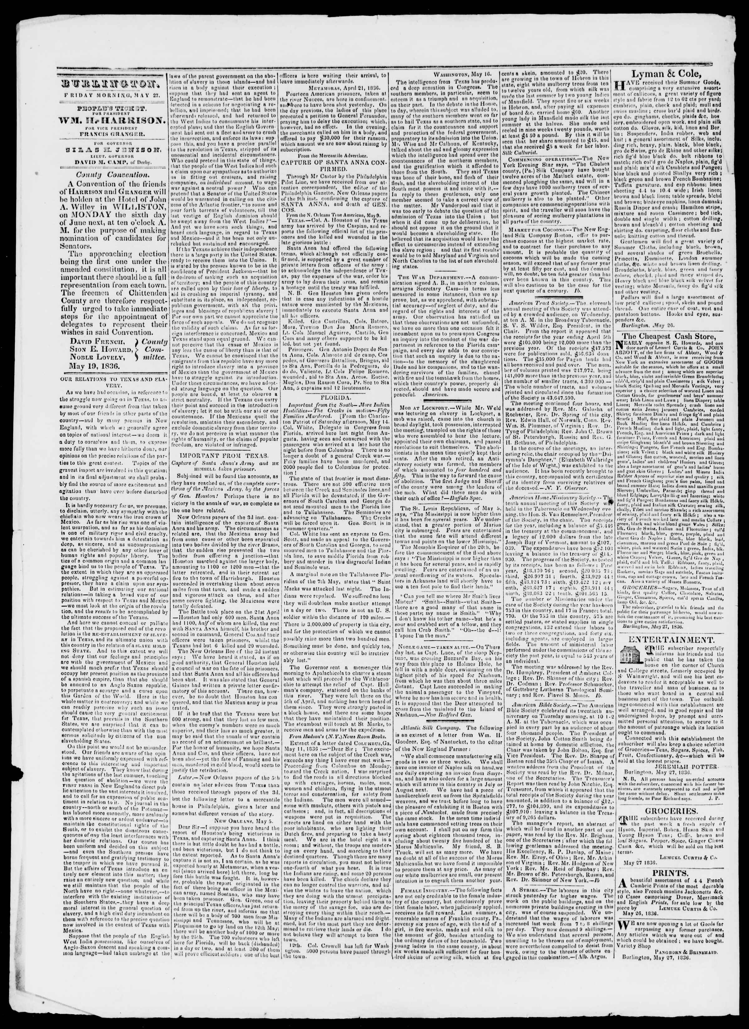 Newspaper of Burlington Free Press dated May 27, 1836 Page 2