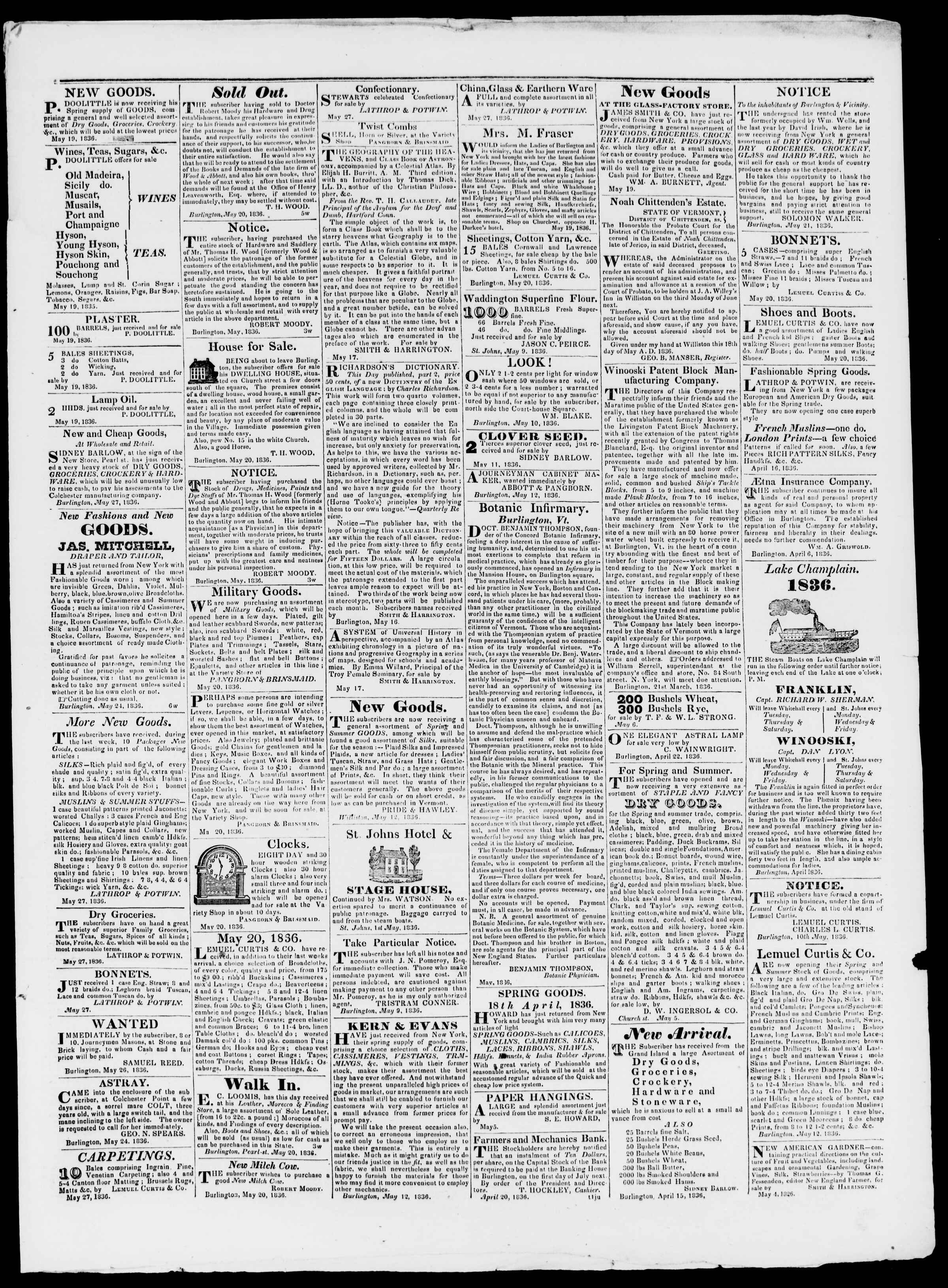 27 Mayıs 1836 tarihli Burlington Free Press Gazetesi Sayfa 3