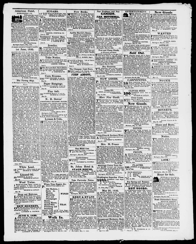 Newspaper of Burlington Free Press dated June 3, 1836 Page 3