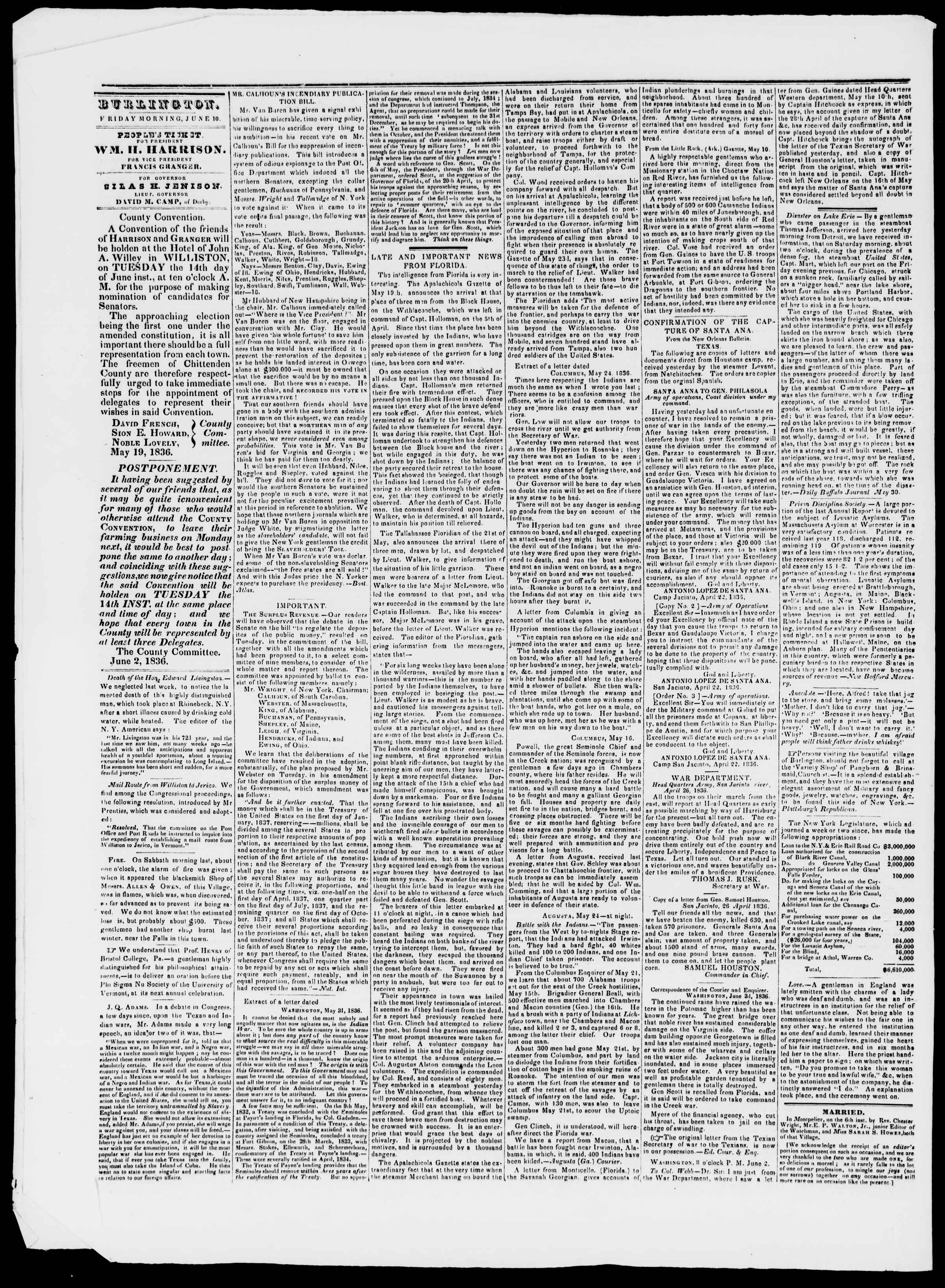 Newspaper of Burlington Free Press dated June 10, 1836 Page 2