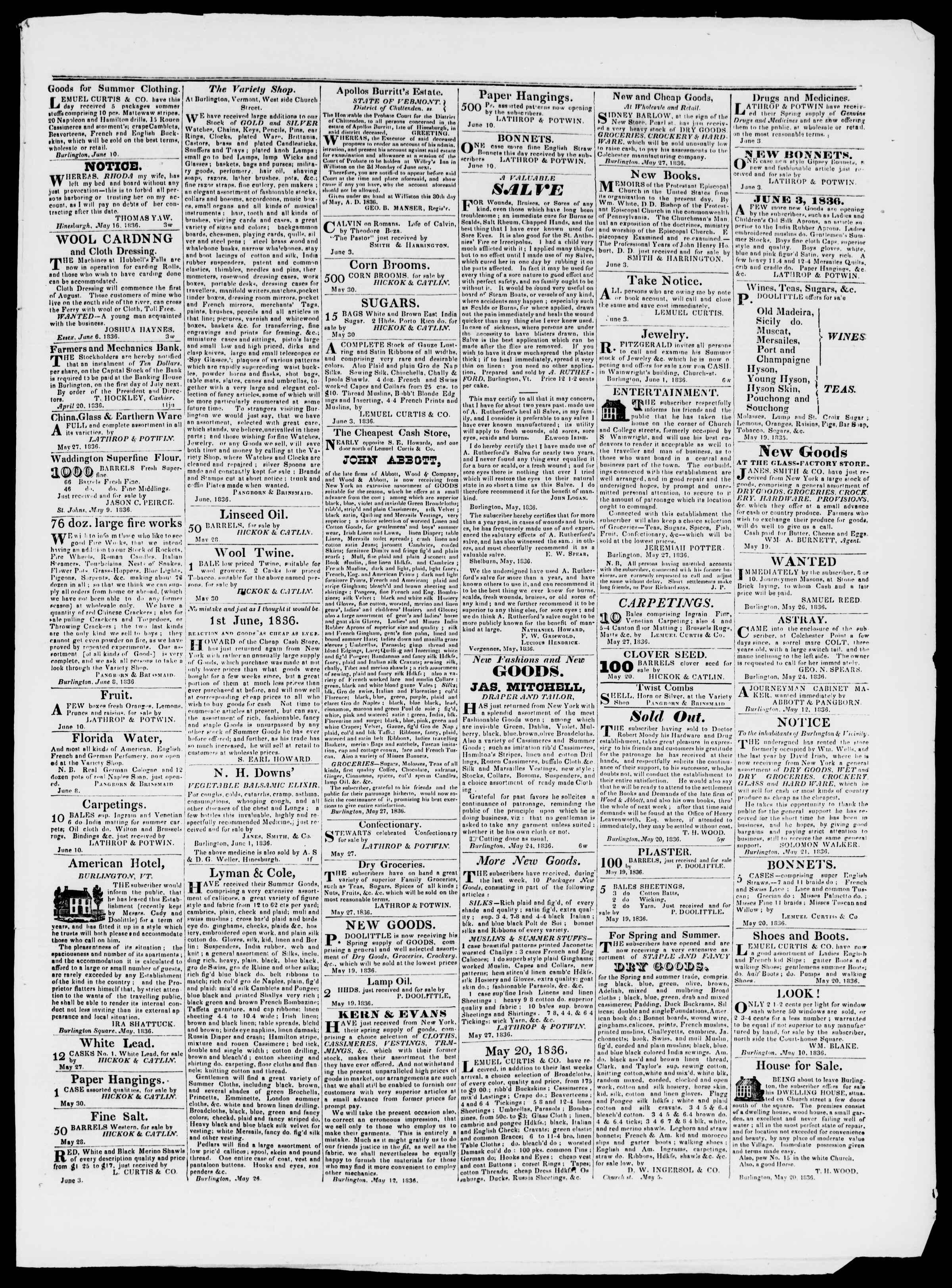 Newspaper of Burlington Free Press dated June 10, 1836 Page 3