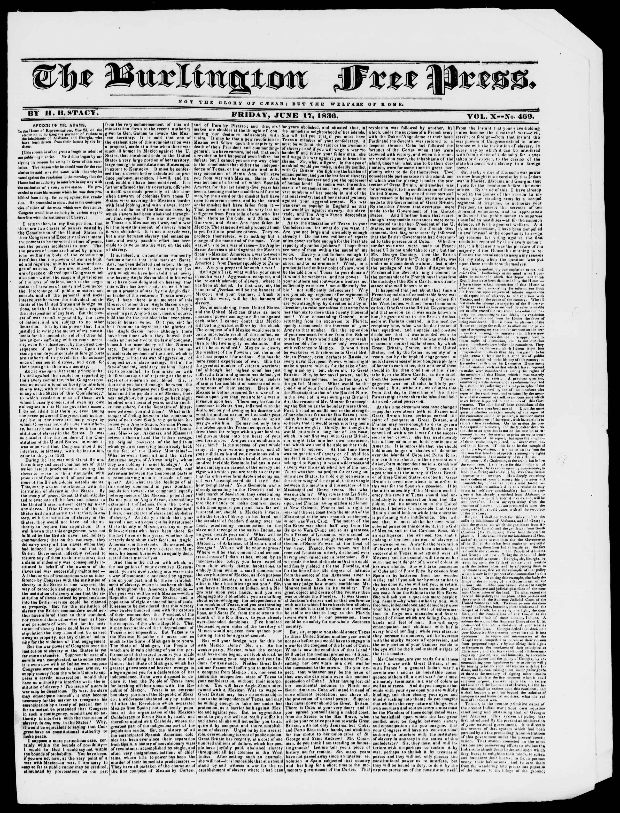 Newspaper of Burlington Free Press dated June 17, 1836 Page 1
