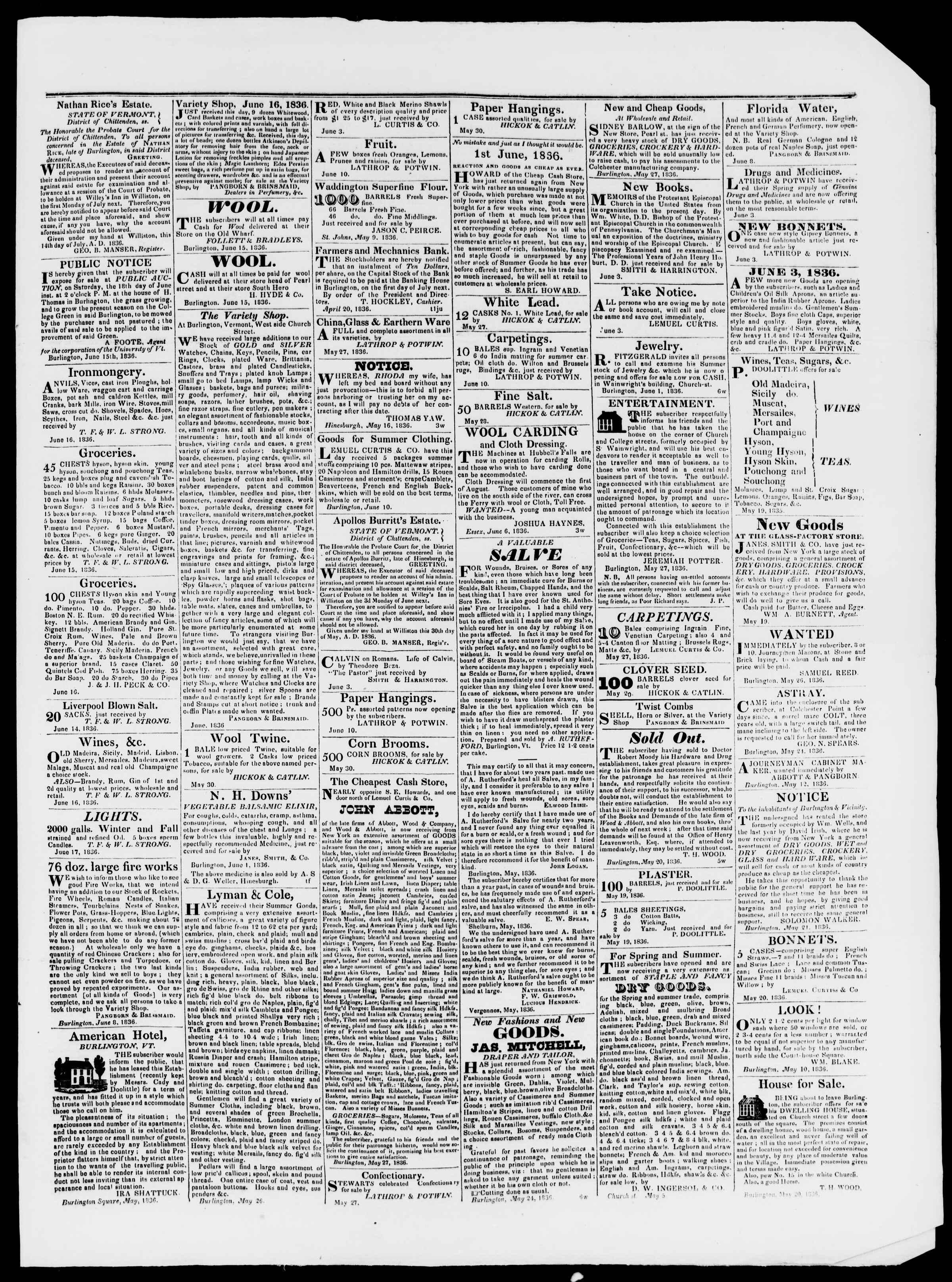 Newspaper of Burlington Free Press dated June 17, 1836 Page 3