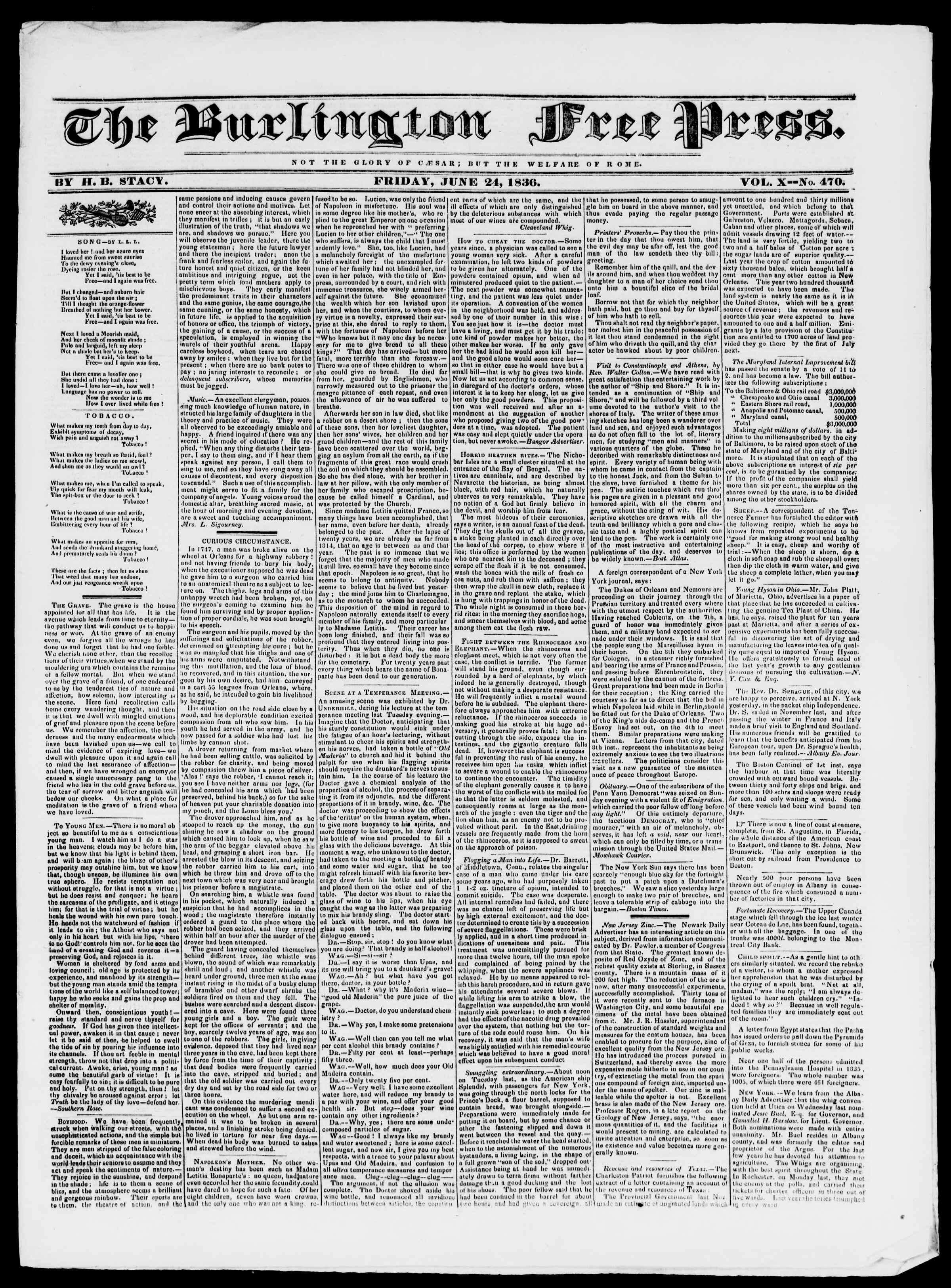 Newspaper of Burlington Free Press dated June 24, 1836 Page 1
