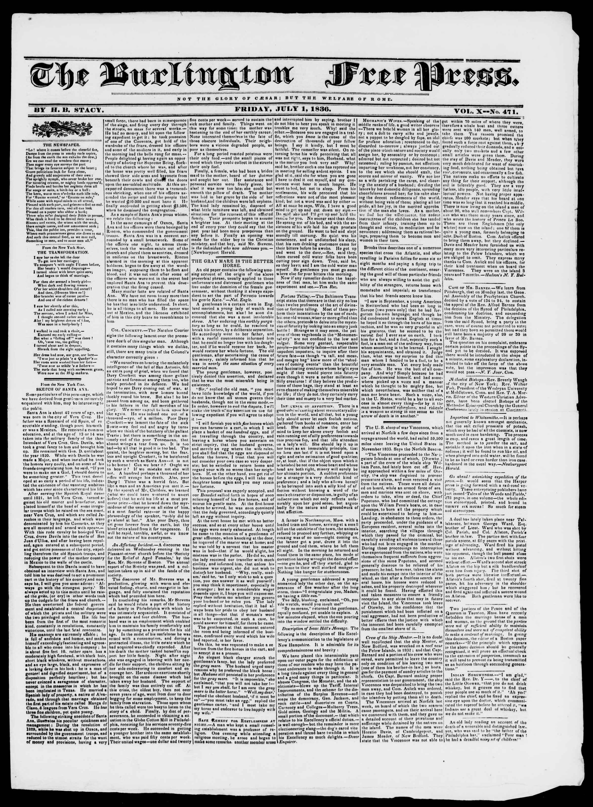 Newspaper of Burlington Free Press dated July 1, 1836 Page 1