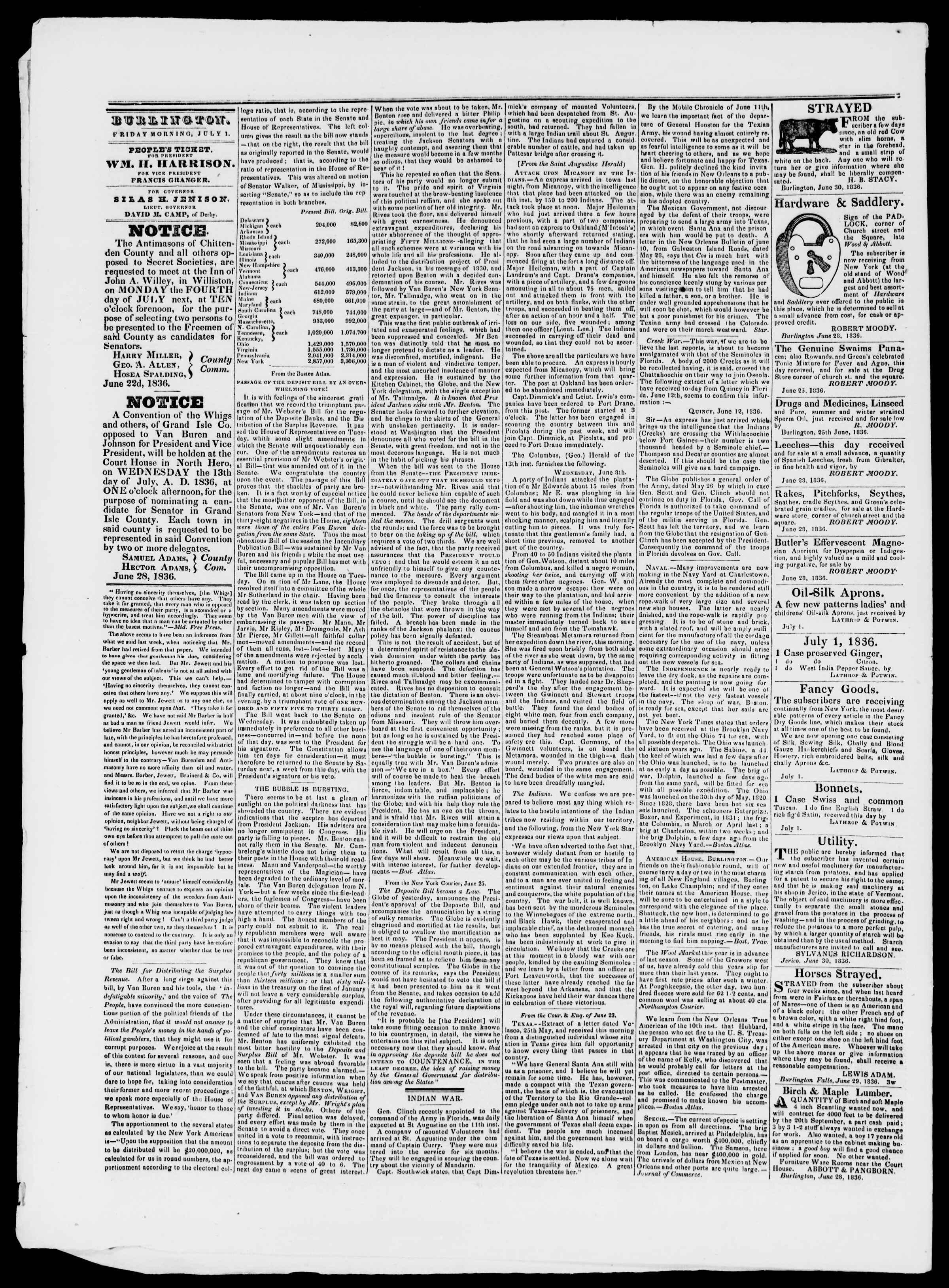 Newspaper of Burlington Free Press dated July 1, 1836 Page 2