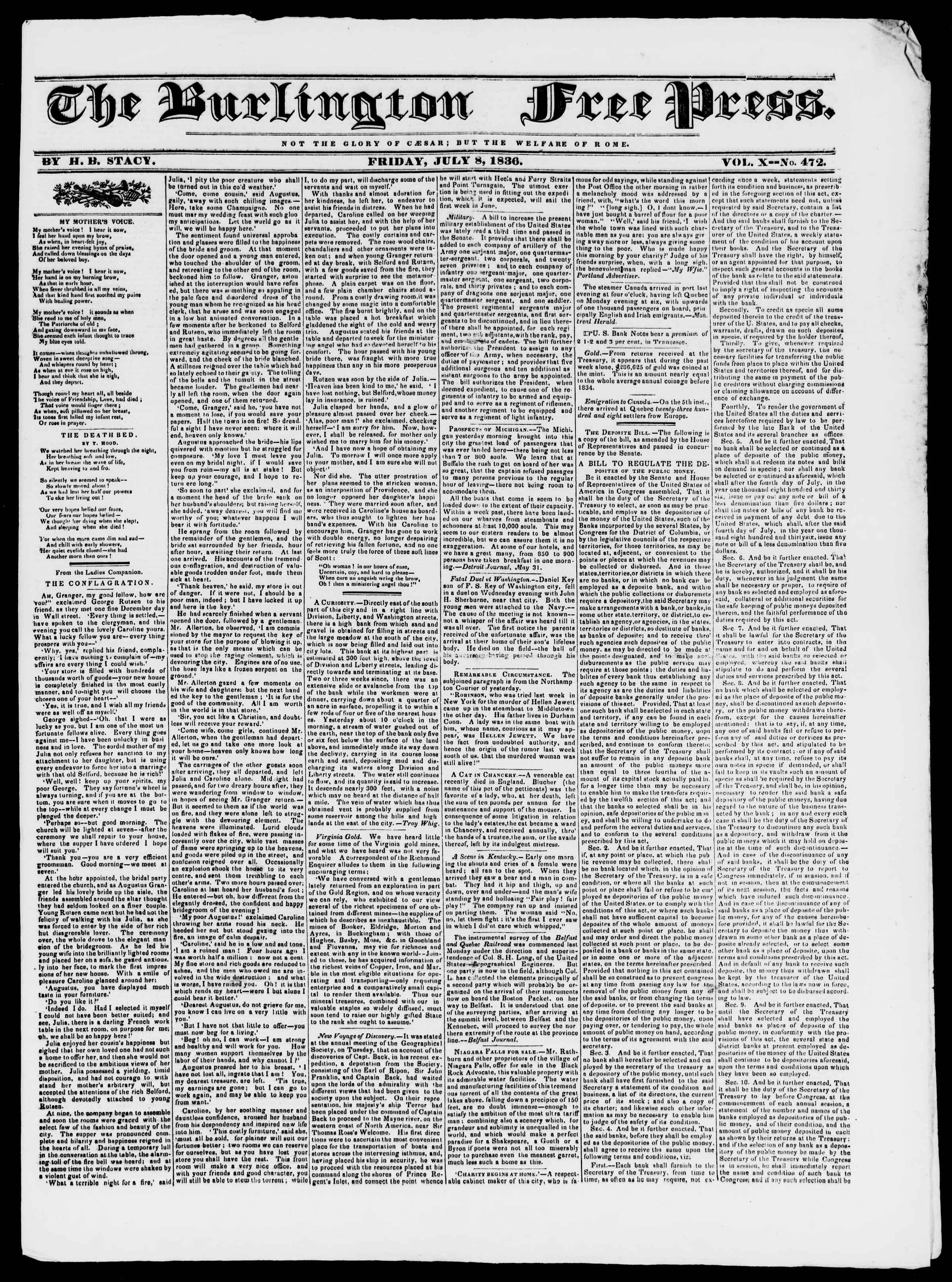 Newspaper of Burlington Free Press dated July 8, 1836 Page 1