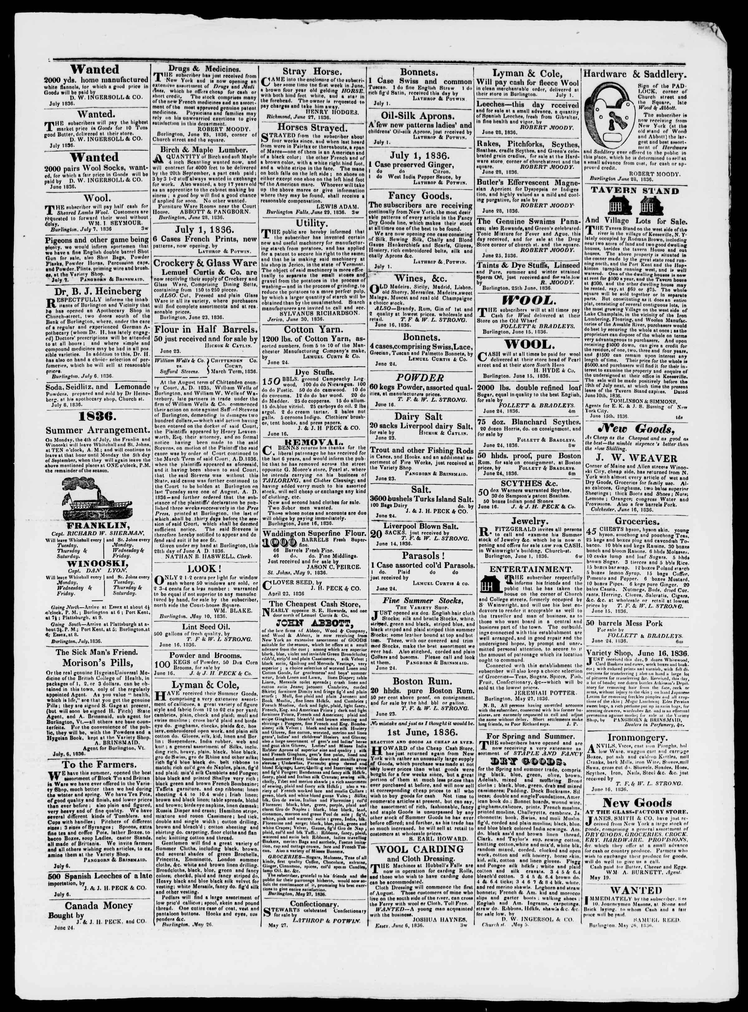 Newspaper of Burlington Free Press dated July 8, 1836 Page 3