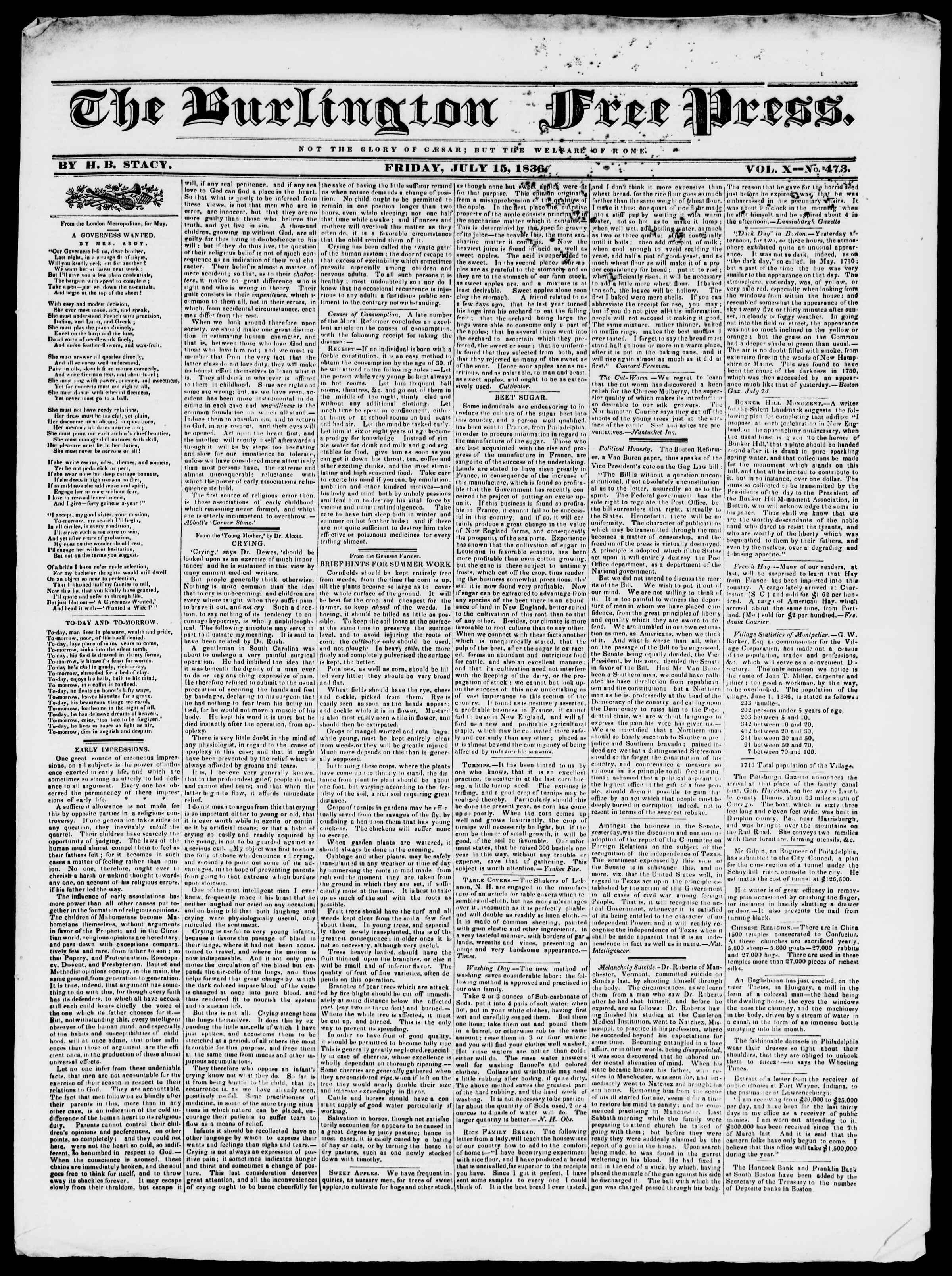 Newspaper of Burlington Free Press dated July 15, 1836 Page 1