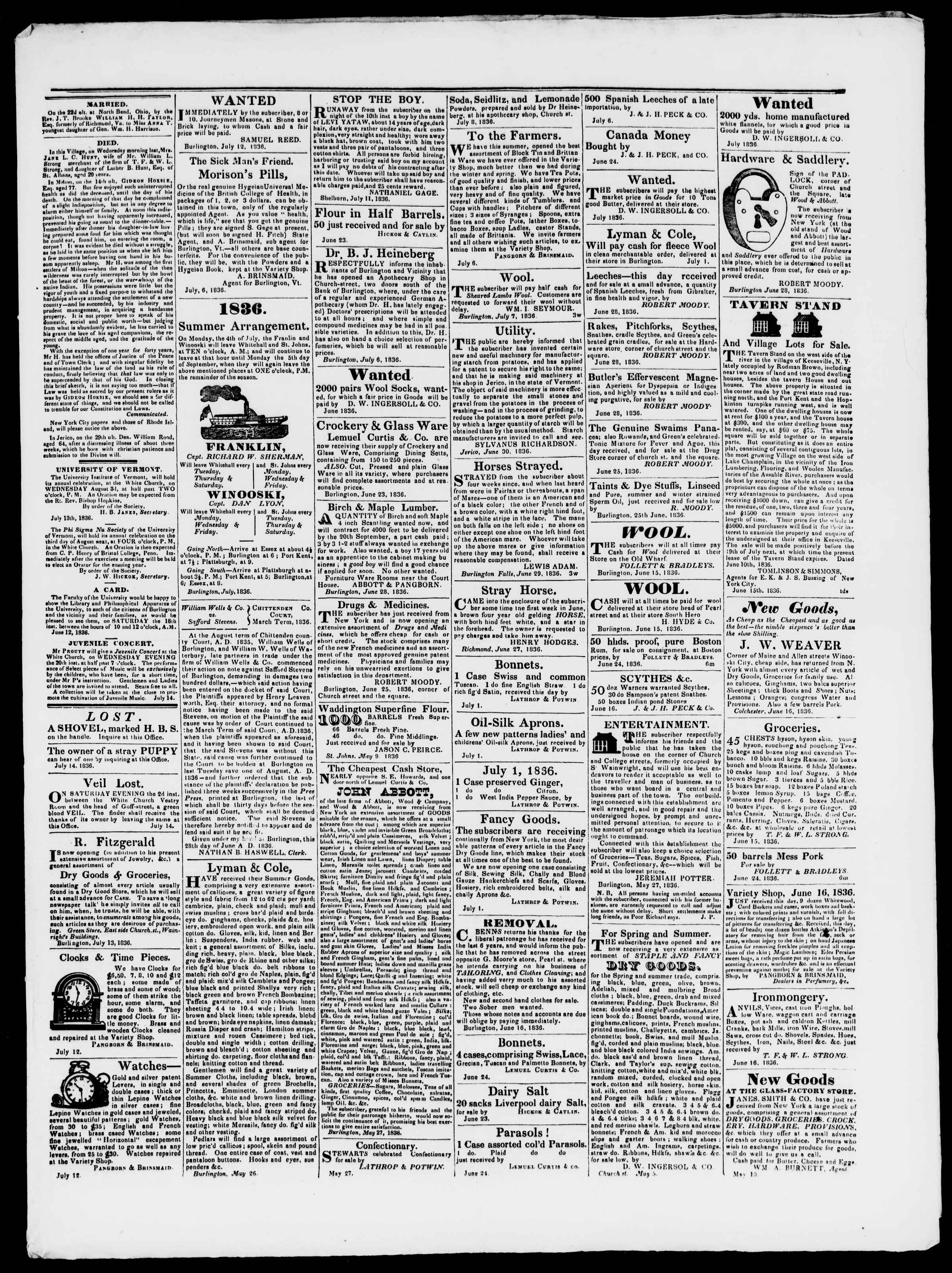 Newspaper of Burlington Free Press dated July 15, 1836 Page 3