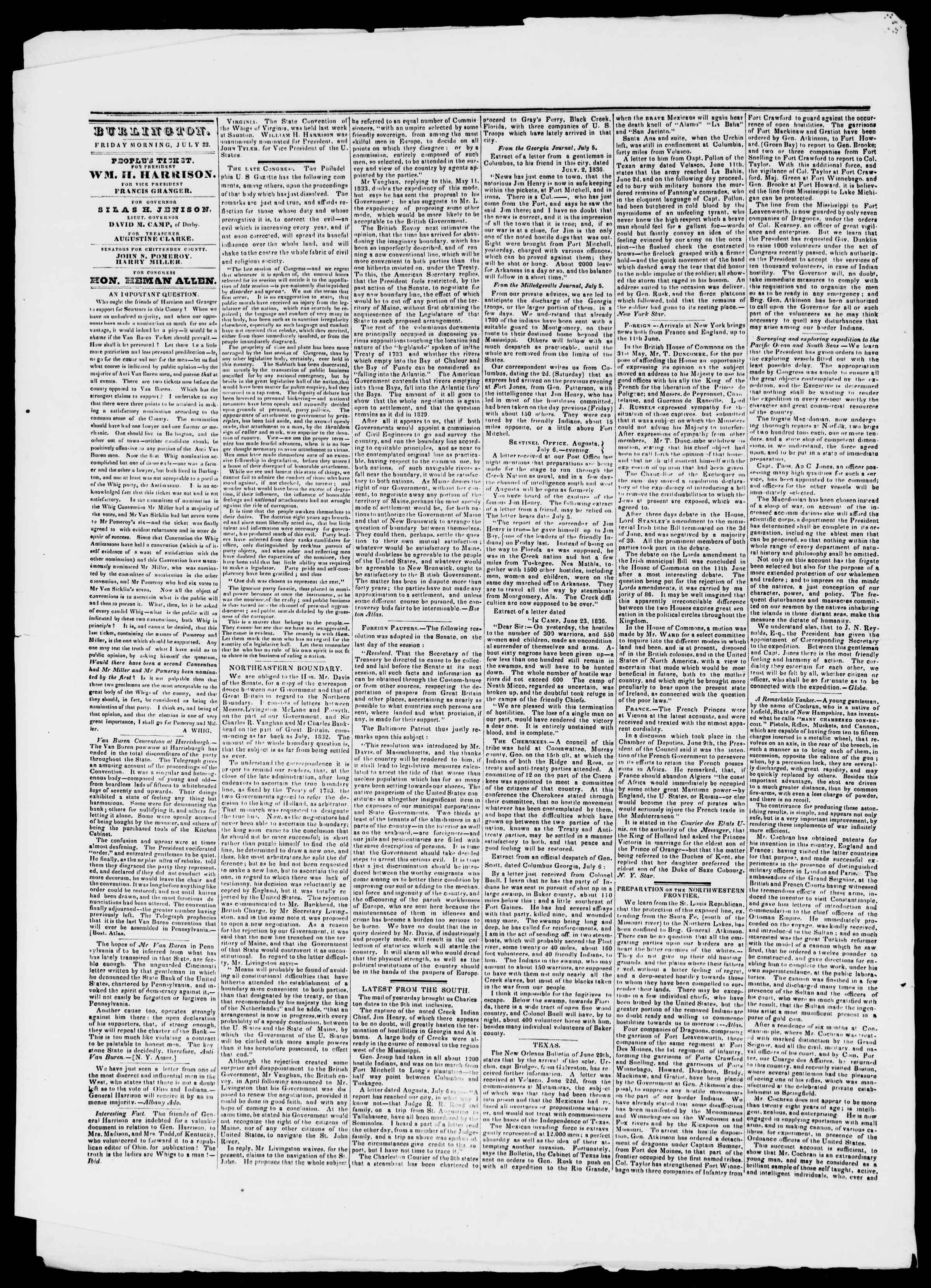 Newspaper of Burlington Free Press dated July 22, 1836 Page 2