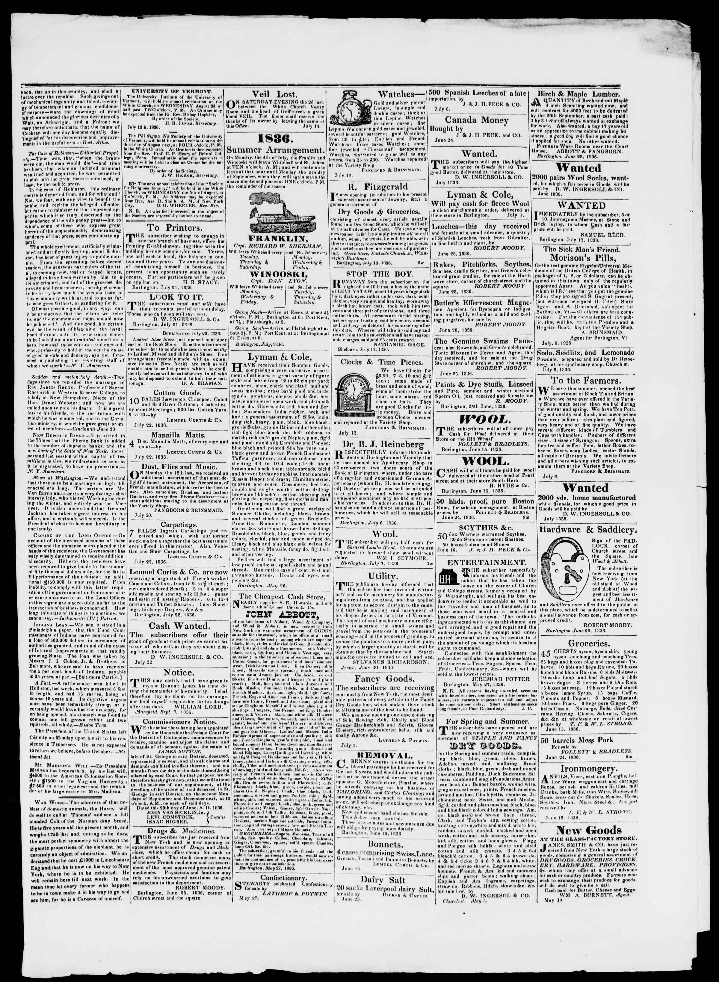 Newspaper of Burlington Free Press dated July 22, 1836 Page 3