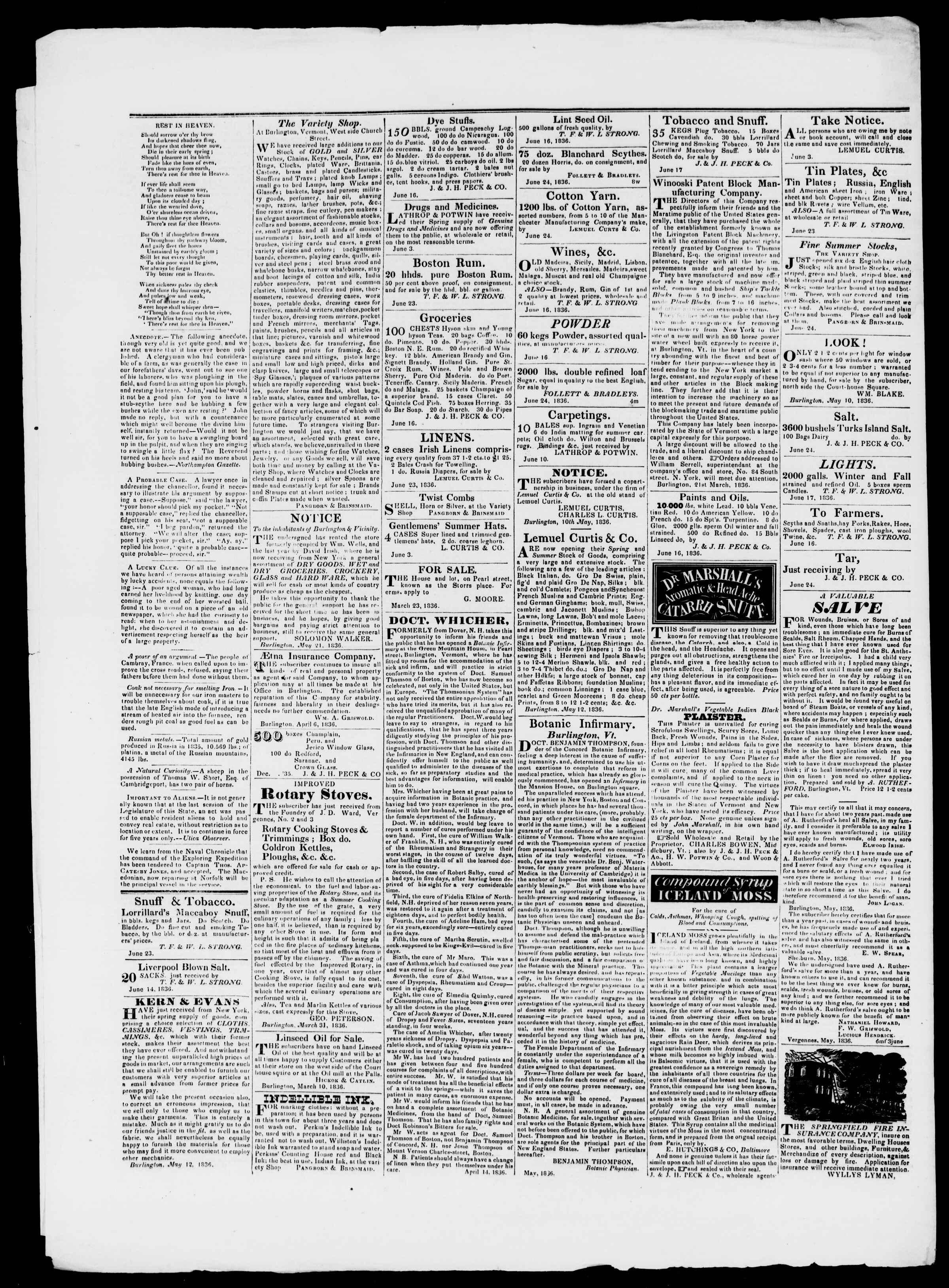 Newspaper of Burlington Free Press dated July 22, 1836 Page 4