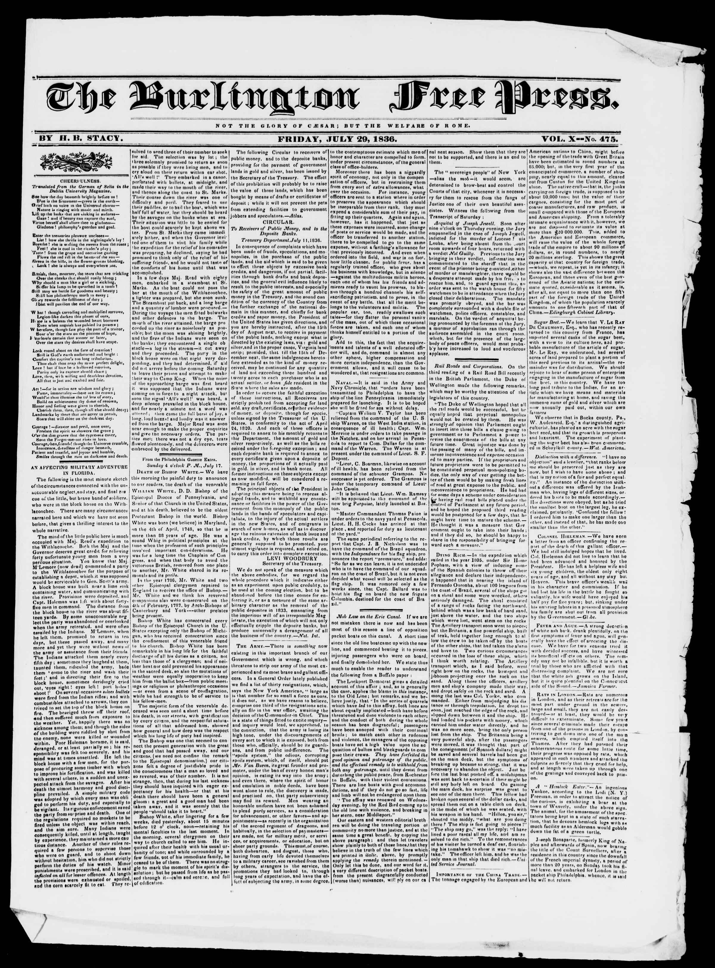 Newspaper of Burlington Free Press dated July 29, 1836 Page 1