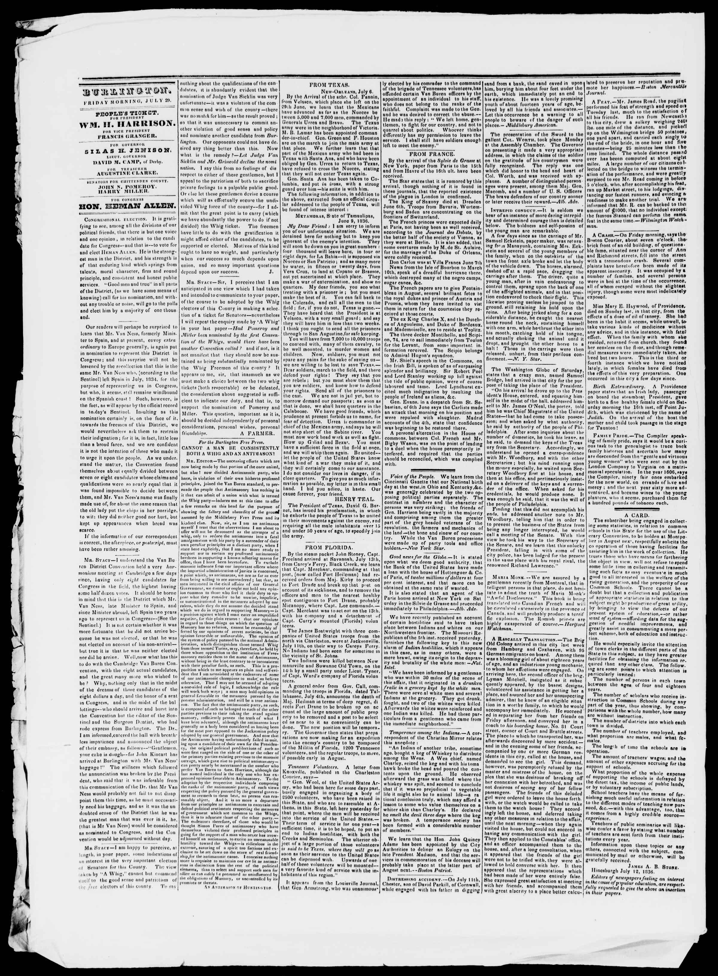 Newspaper of Burlington Free Press dated July 29, 1836 Page 2