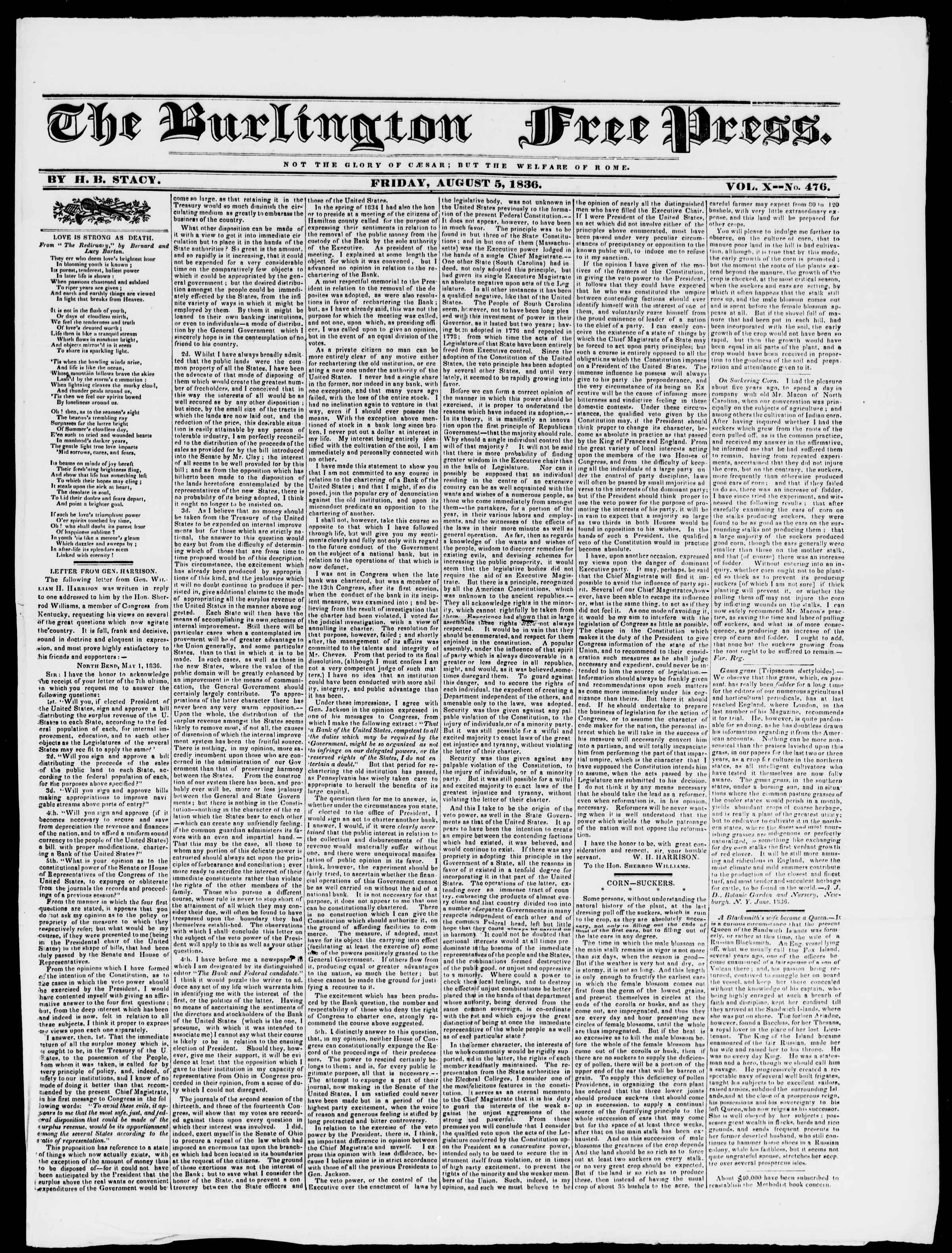 Newspaper of Burlington Free Press dated 5 Ağustos 1836 Page 1