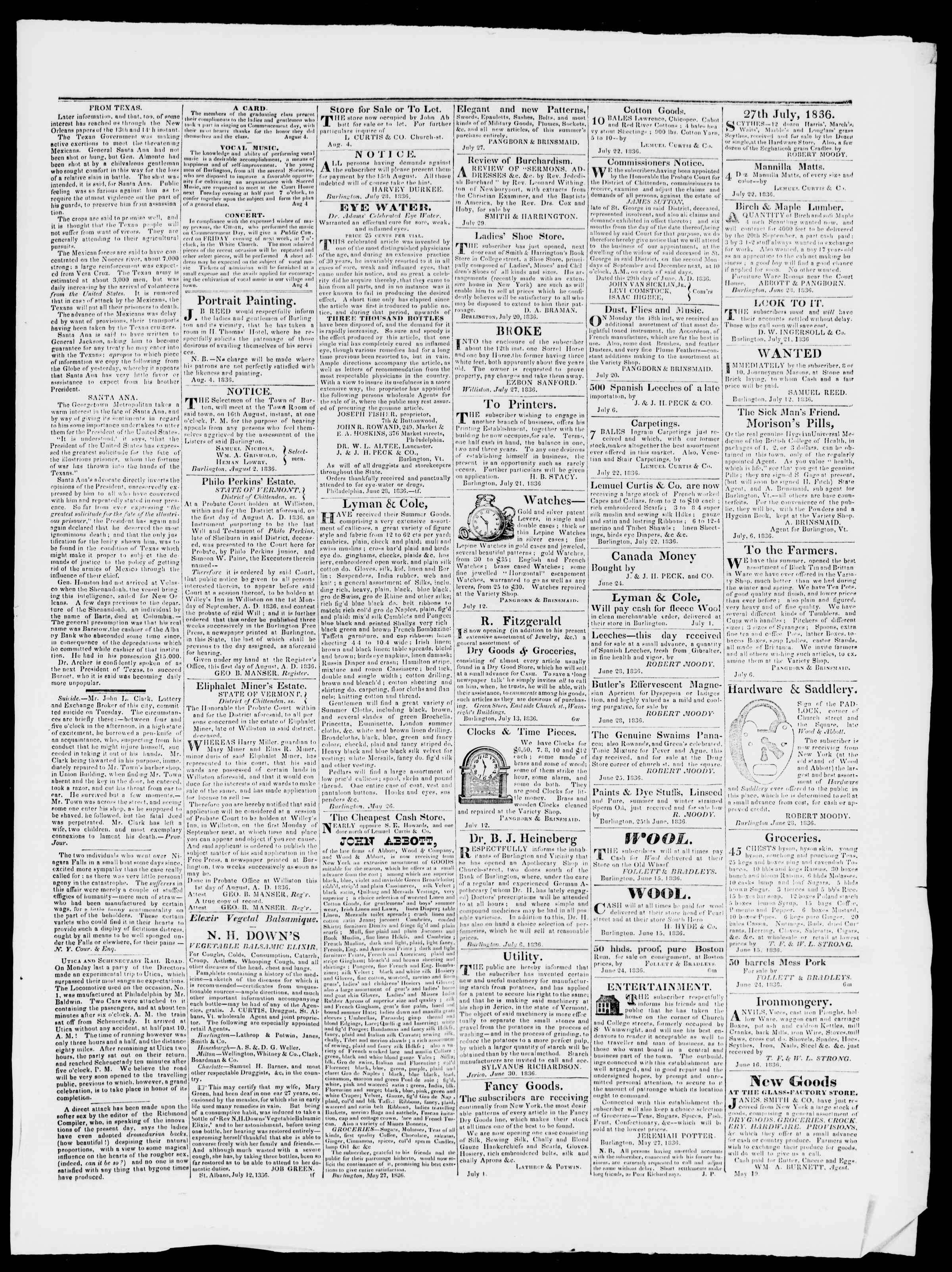 Newspaper of Burlington Free Press dated August 5, 1836 Page 3