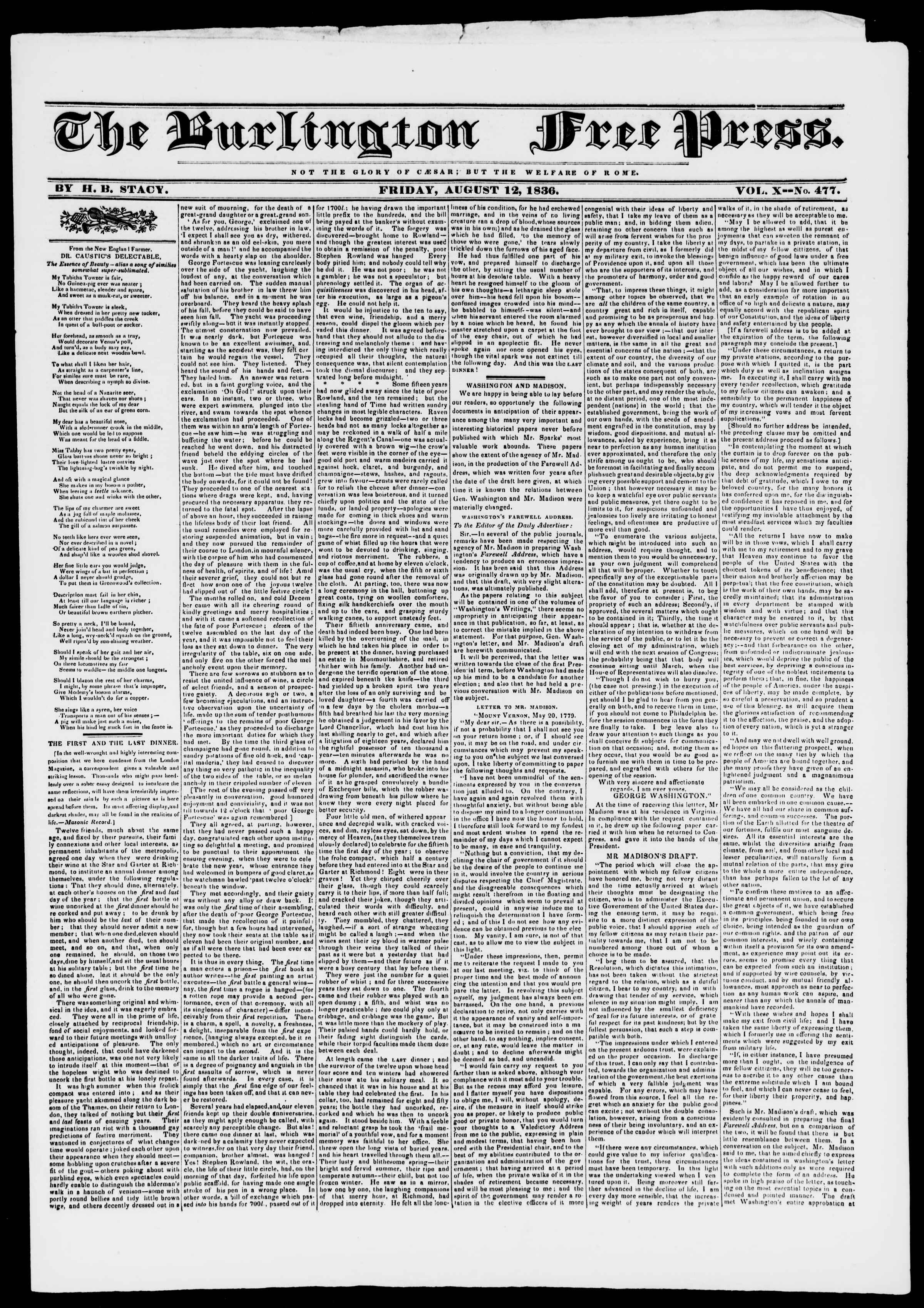 Newspaper of Burlington Free Press dated August 12, 1836 Page 1