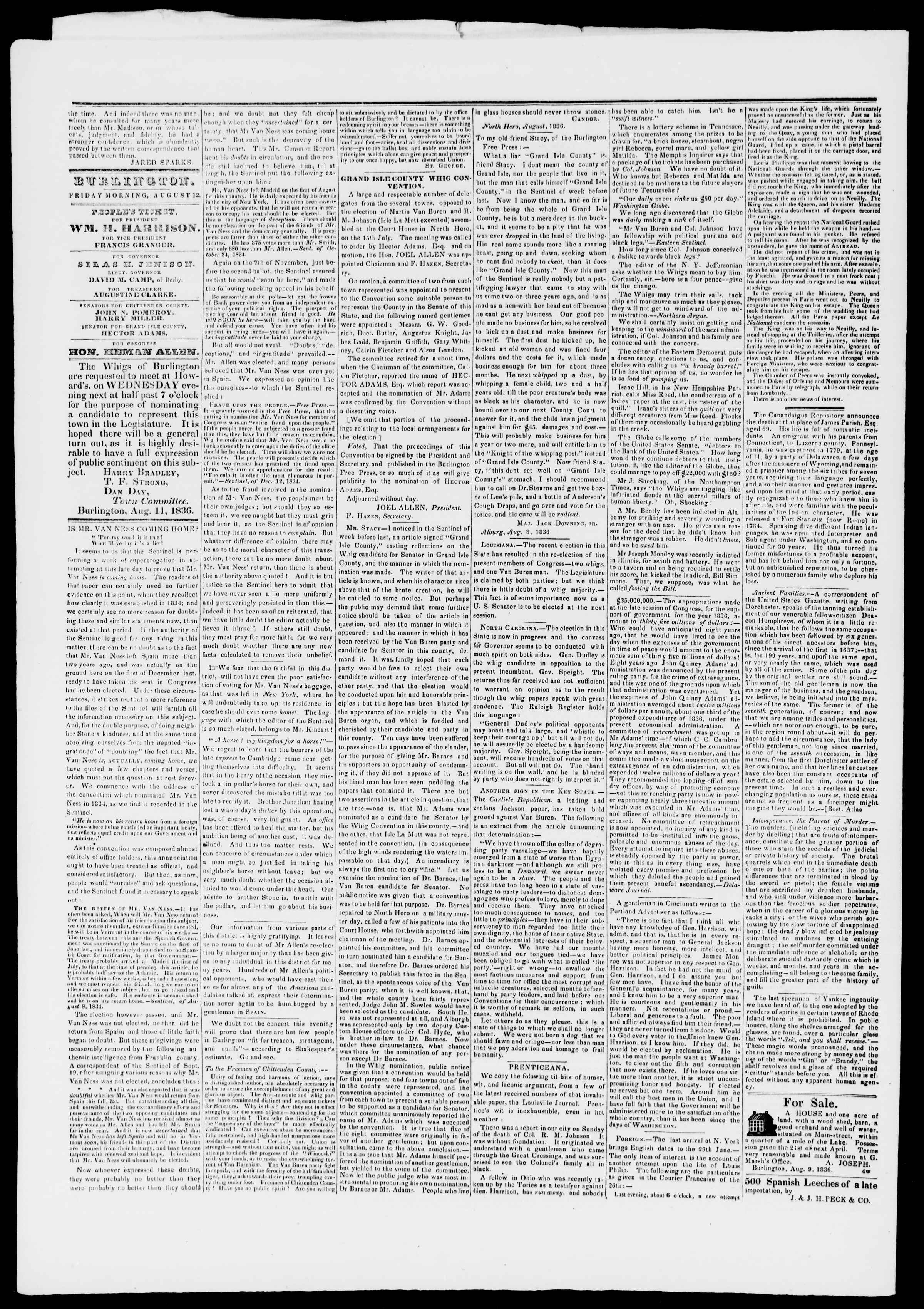 Newspaper of Burlington Free Press dated August 12, 1836 Page 2
