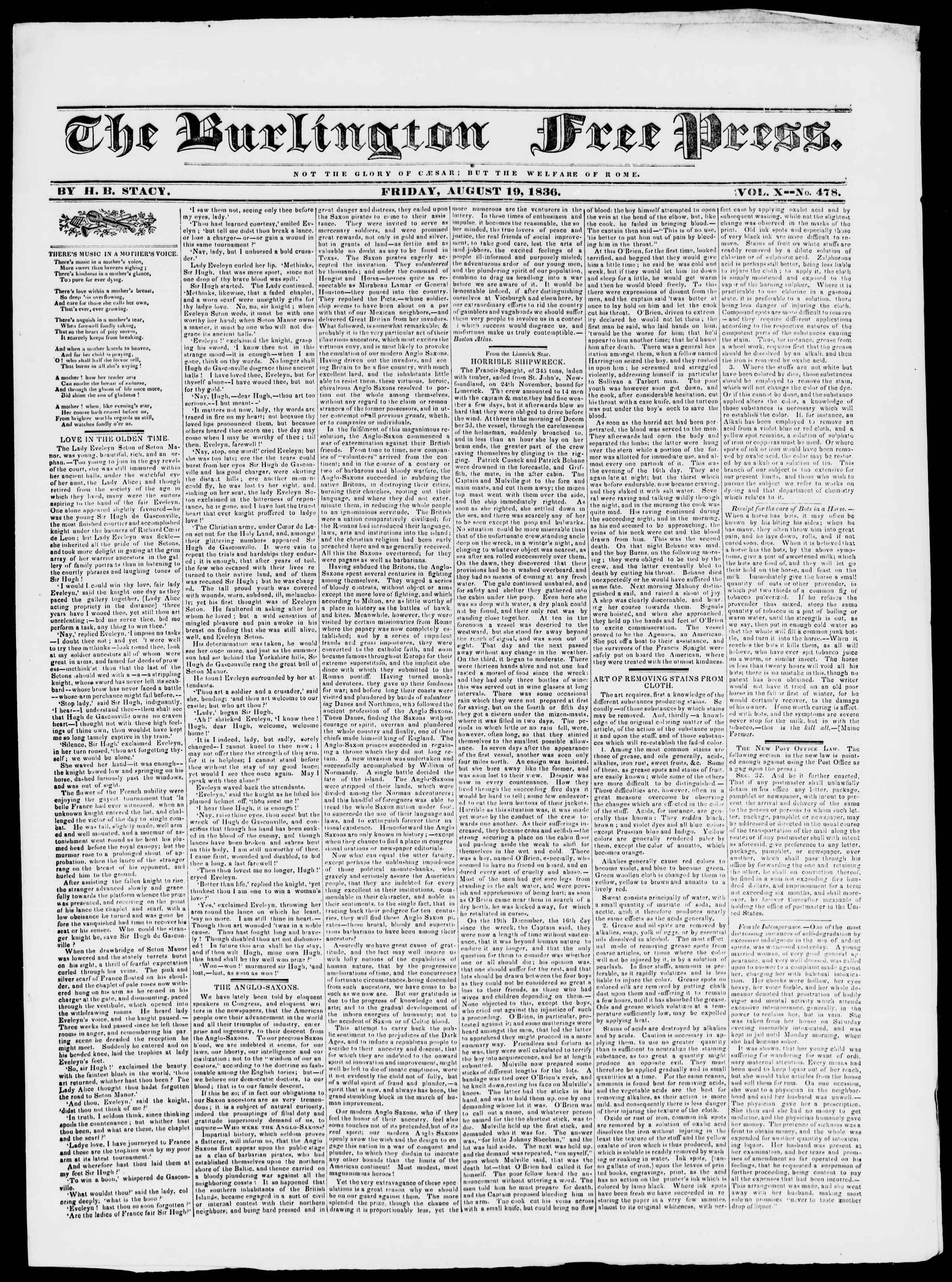 Newspaper of Burlington Free Press dated August 19, 1836 Page 1