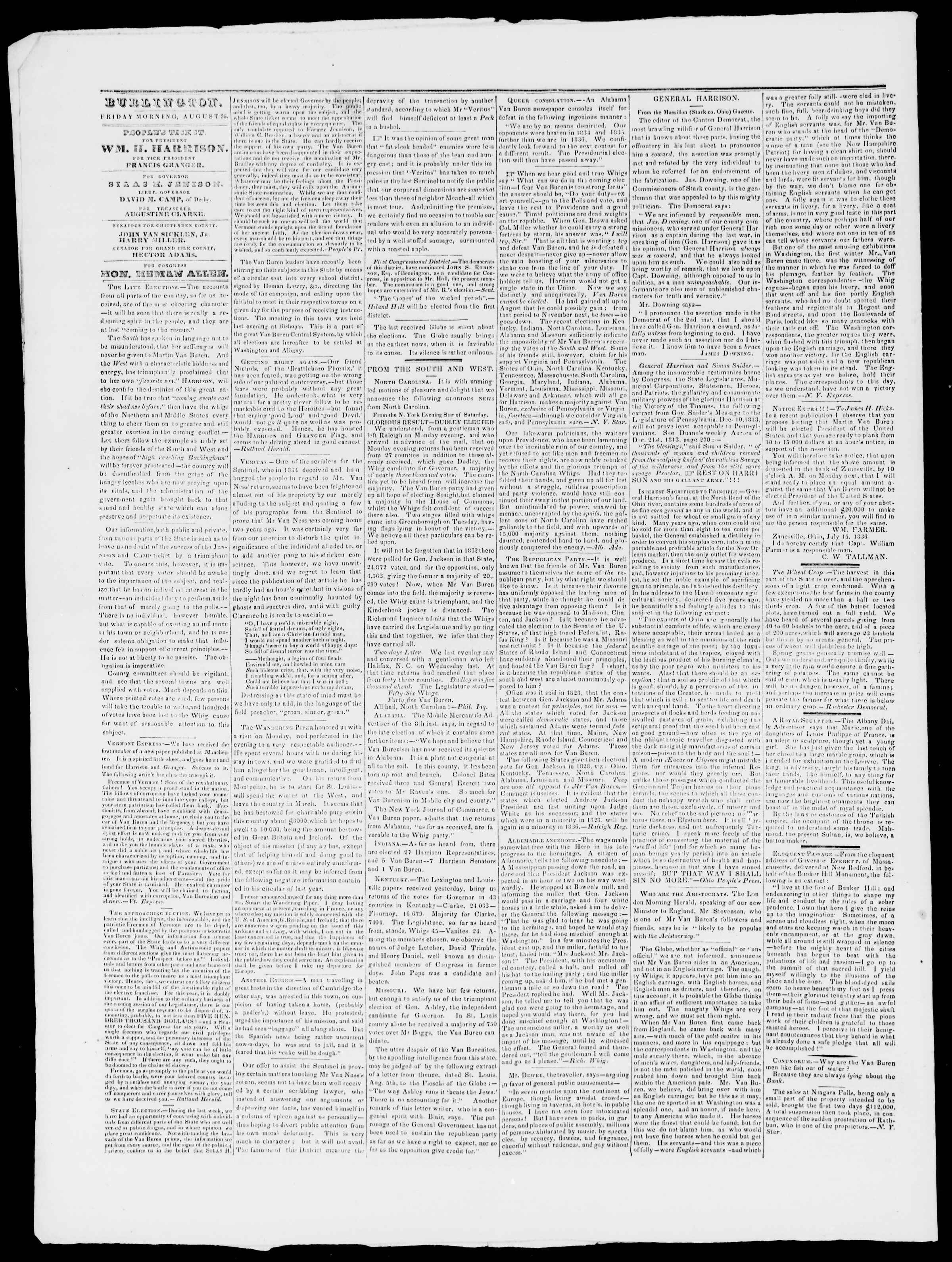 Newspaper of Burlington Free Press dated August 26, 1836 Page 2
