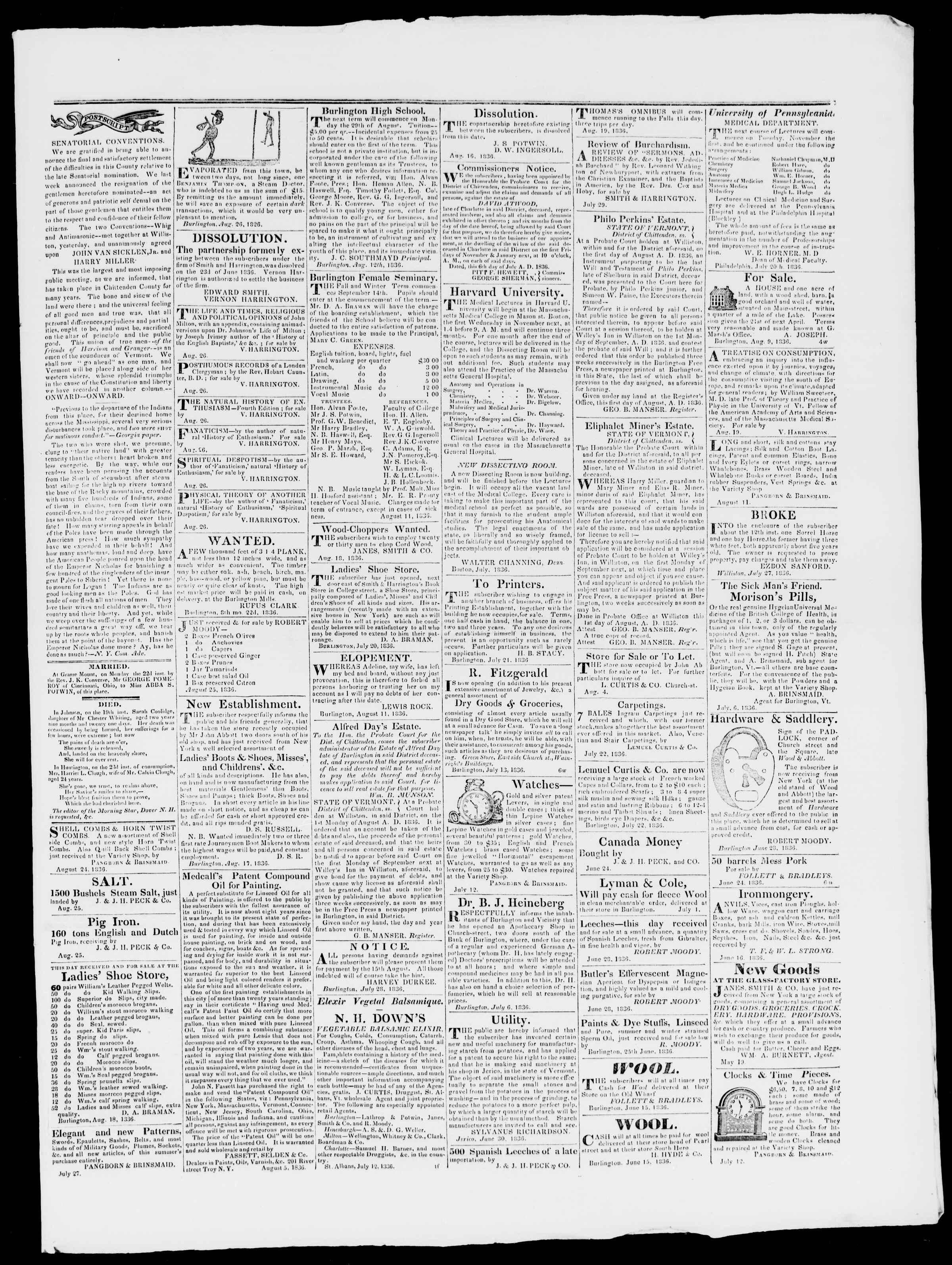Newspaper of Burlington Free Press dated August 26, 1836 Page 3
