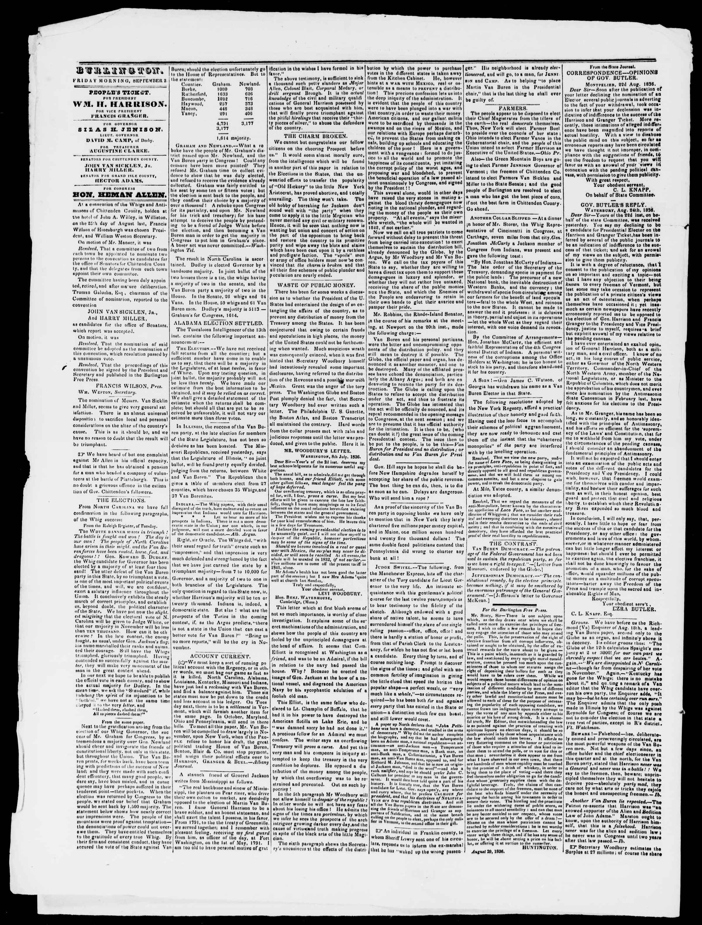 Newspaper of Burlington Free Press dated September 2, 1836 Page 2