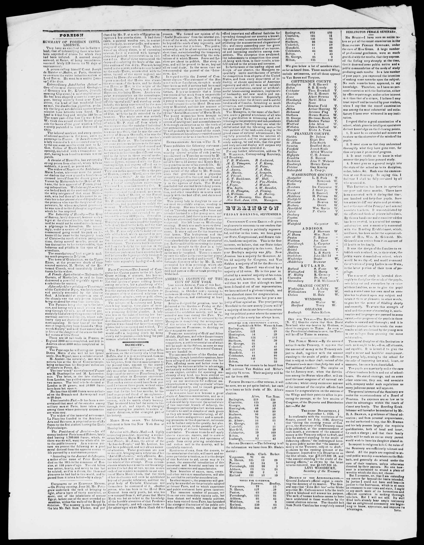 Newspaper of Burlington Free Press dated September 9, 1836 Page 2