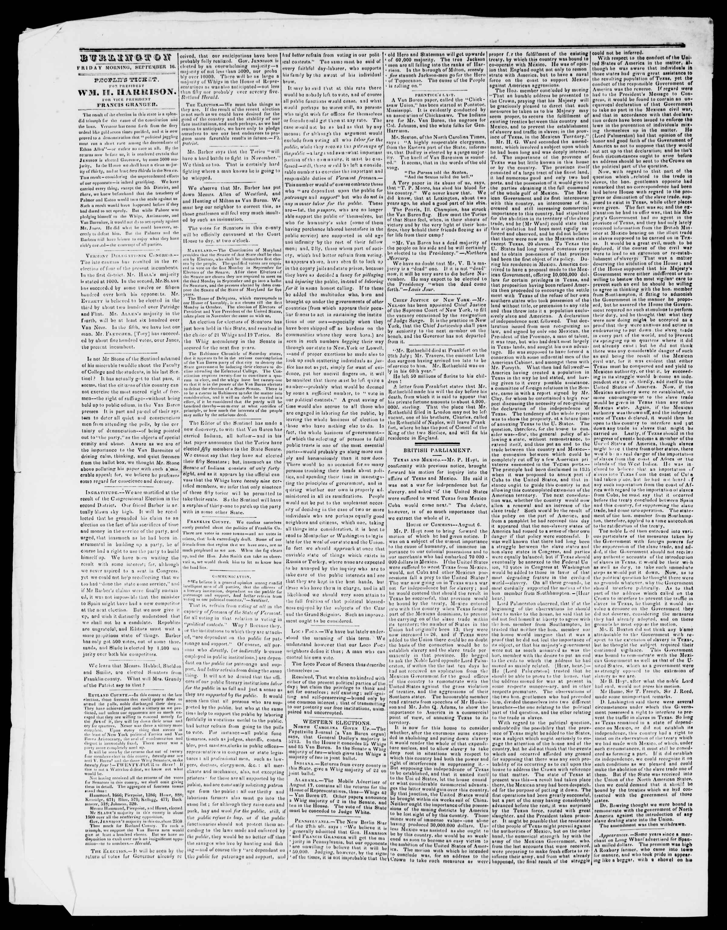 Newspaper of Burlington Free Press dated September 16, 1836 Page 2