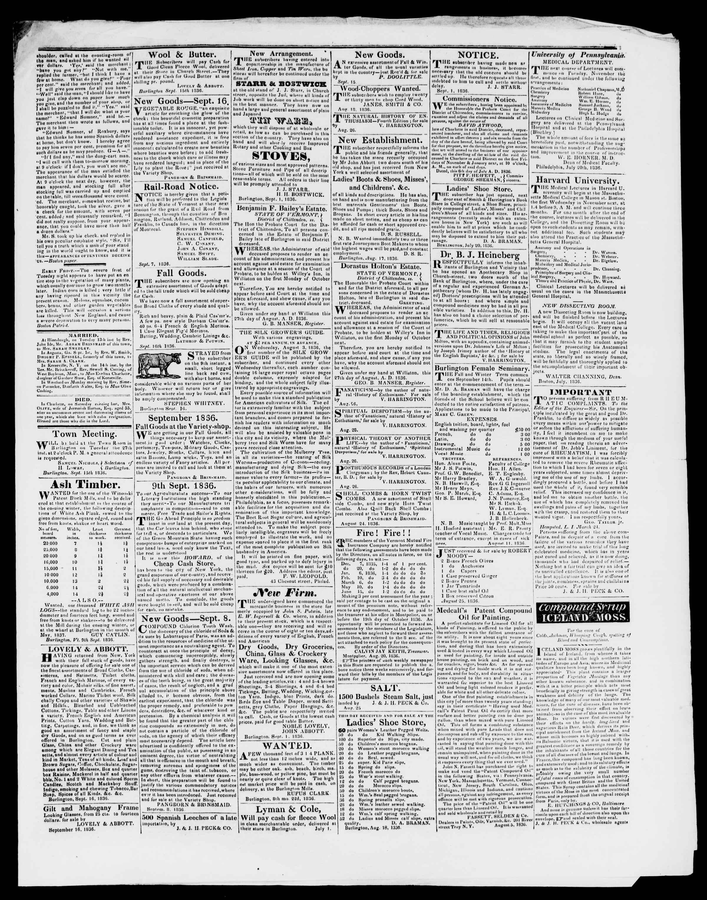 Newspaper of Burlington Free Press dated September 16, 1836 Page 3